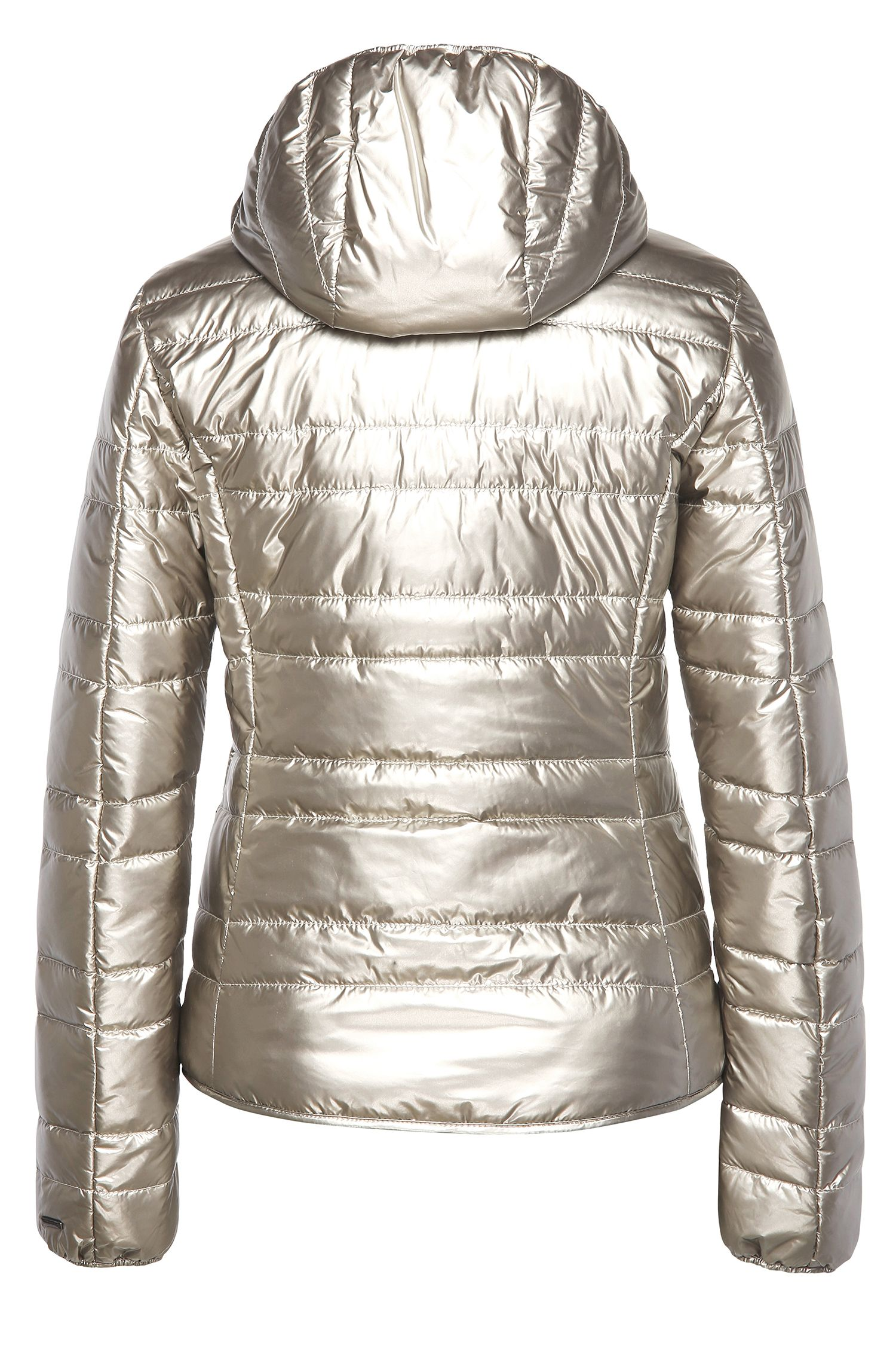 Gewatteerde regular-fit jas van een materiaalmix in metallic look: 'Otarra'