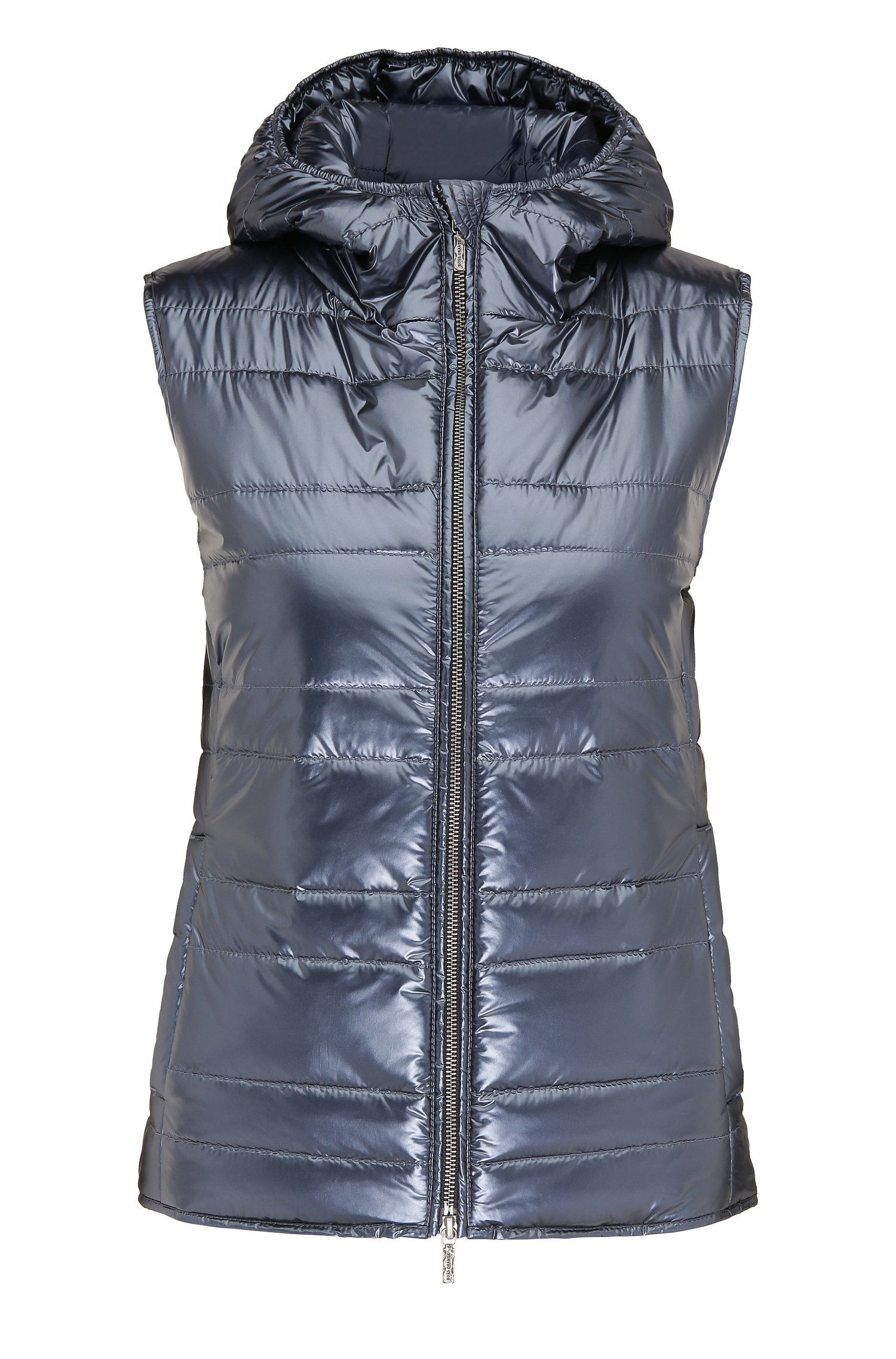 Hooded and quilted waistcoat in material blend: 'Otirra'