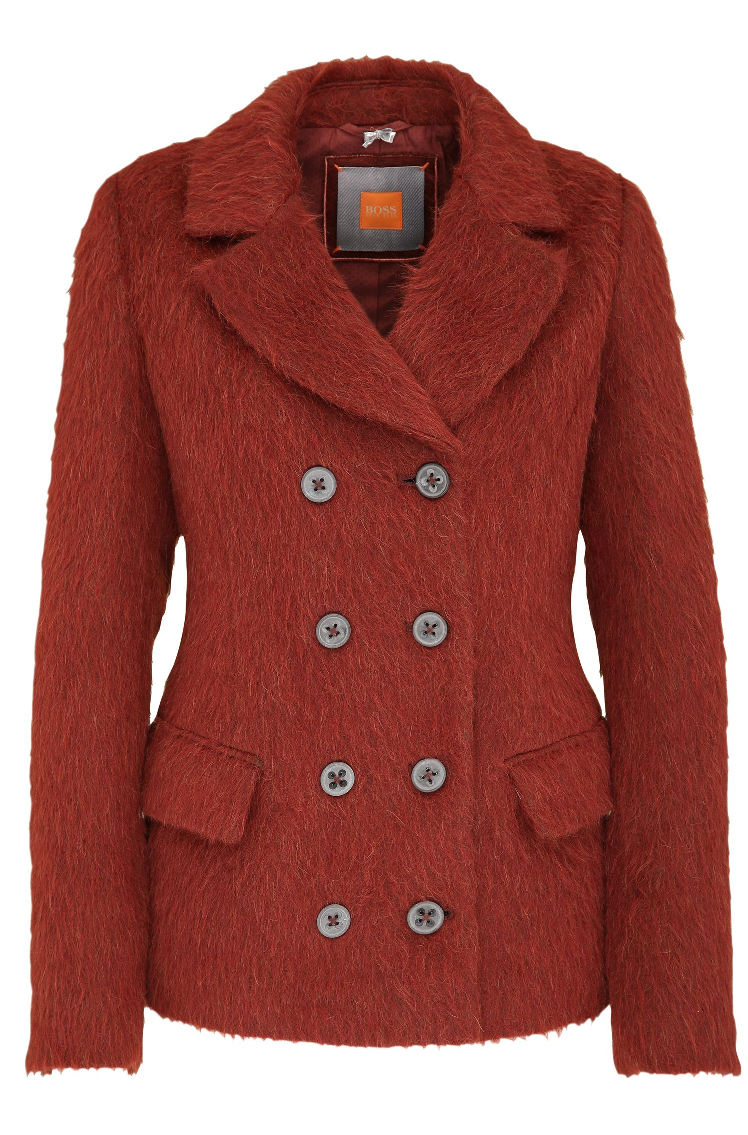 Short coat in a material blend with wool and alpaca: 'Ocabby'
