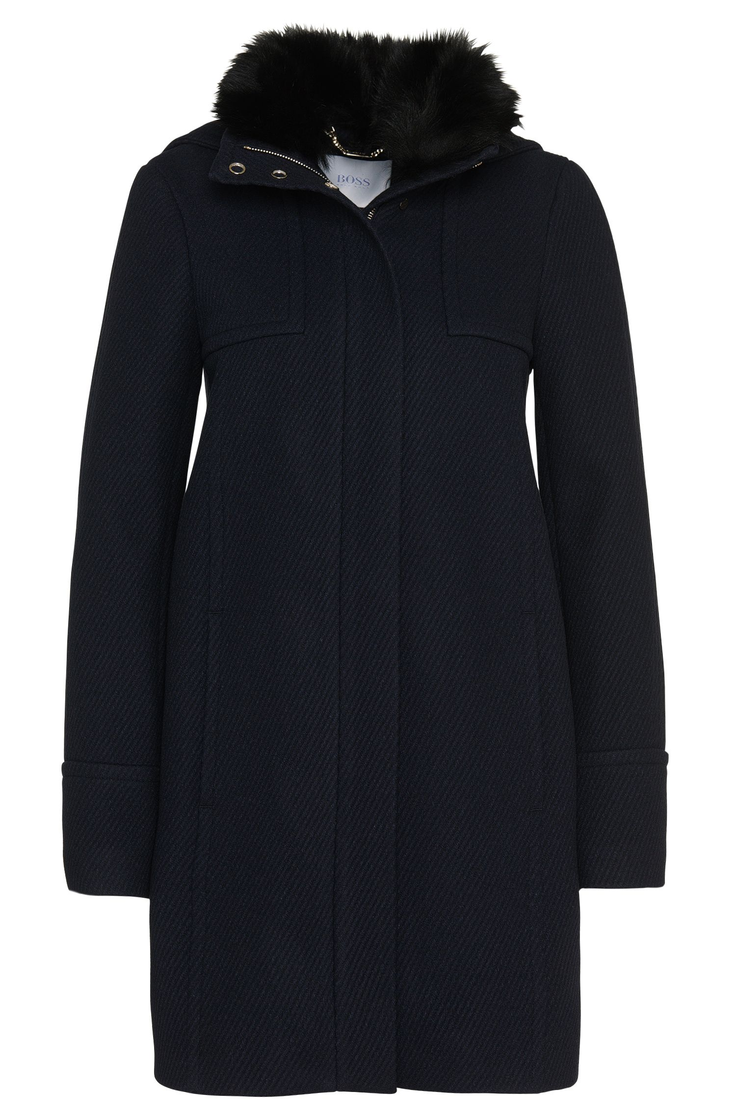 Coat in a new-wool blend with cashmere and a lambskin collar: 'Cenida'