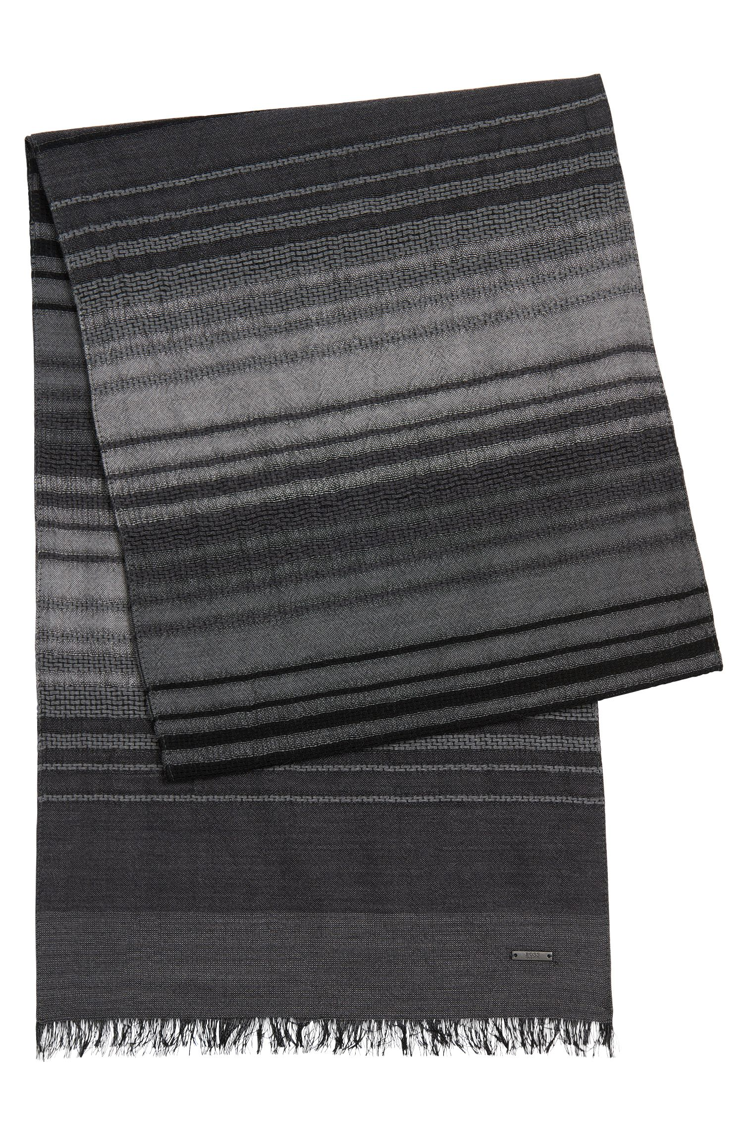 Striped scarf in new-wool blend with silk: 'Cantos'