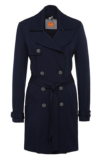 Regular-fit trench coat in stretchy viscose blend: 'Odenimy', Dark Blue