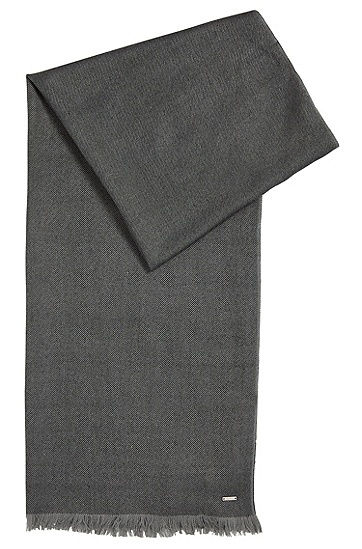 Gestreifter Tailored Schal aus Schurwoll-Mix mit Seidel: 'T-Herasio', Grau