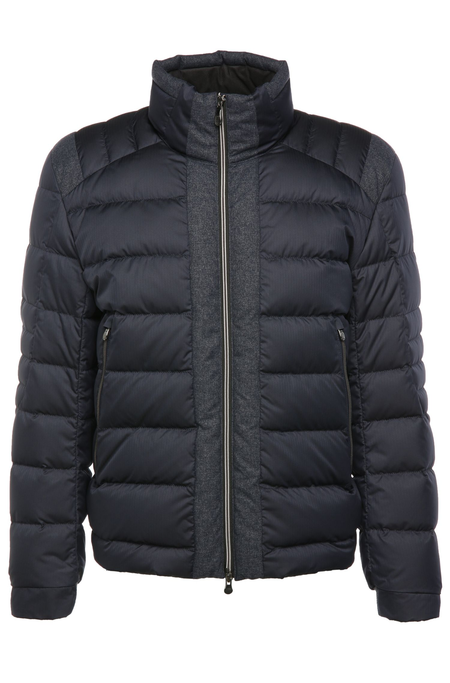Quilted down jacket with band collar: 'Jonkins'