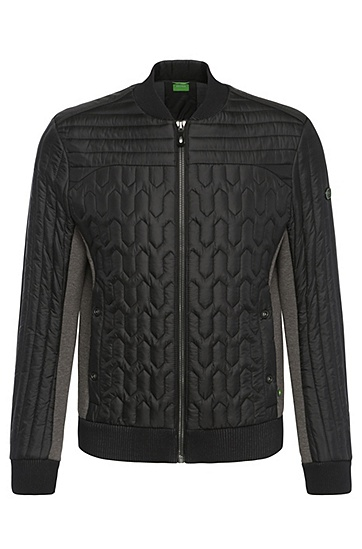 Regular-fit quilted jacket in fabric blend: 'Jodolo', Black