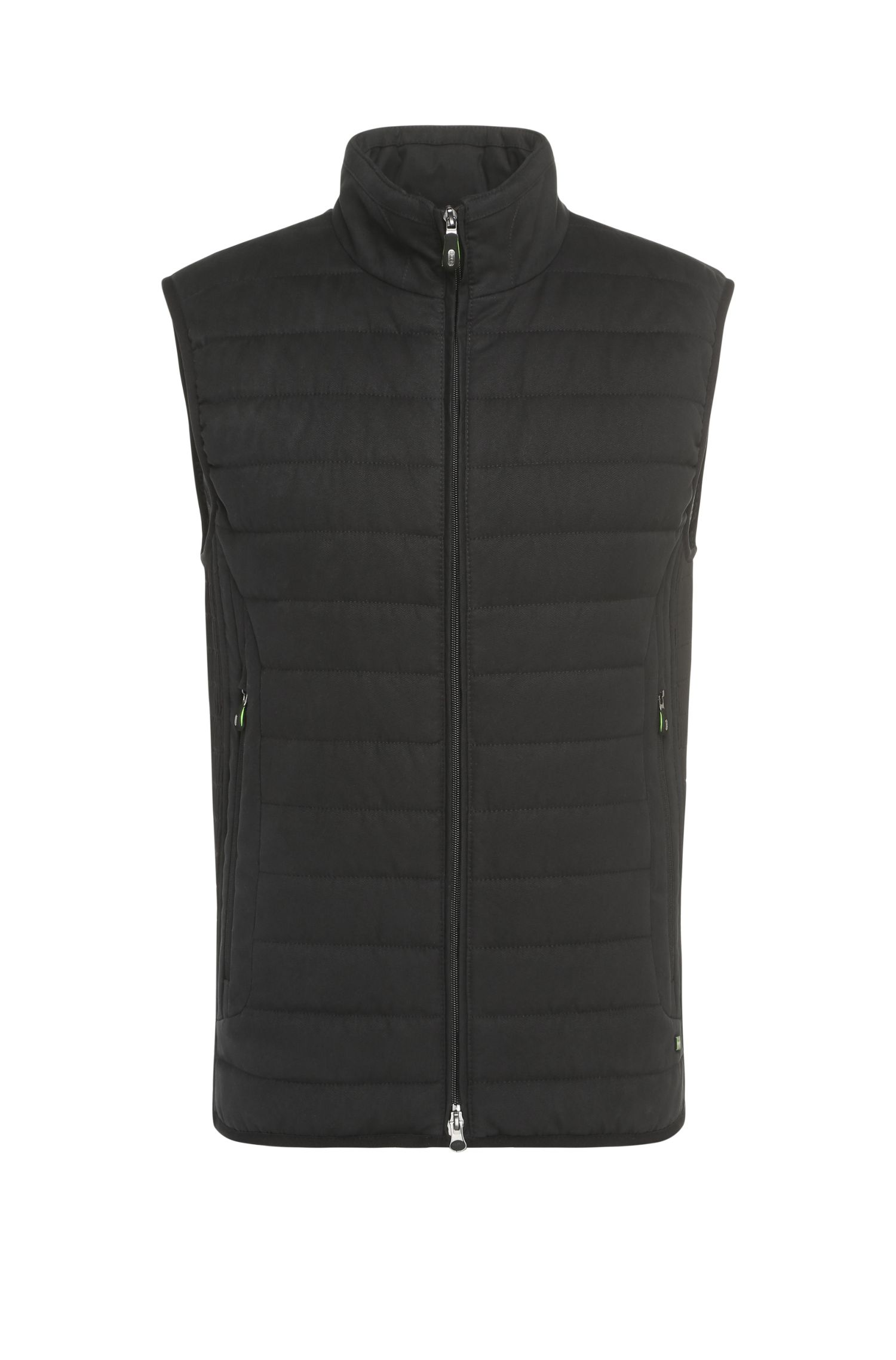 Quilted waistcoat in a smooth fabric with a band collar: 'Vilario'