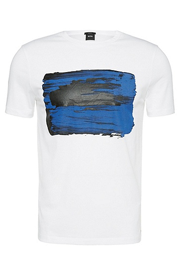 正面图案印花修身版纯棉T恤:'Tessler 29',  100_白色