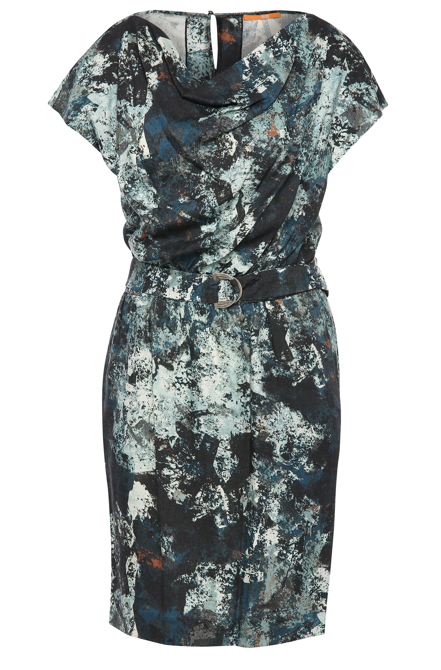 Patterned dress in material blend with wool: 'Ablura1'