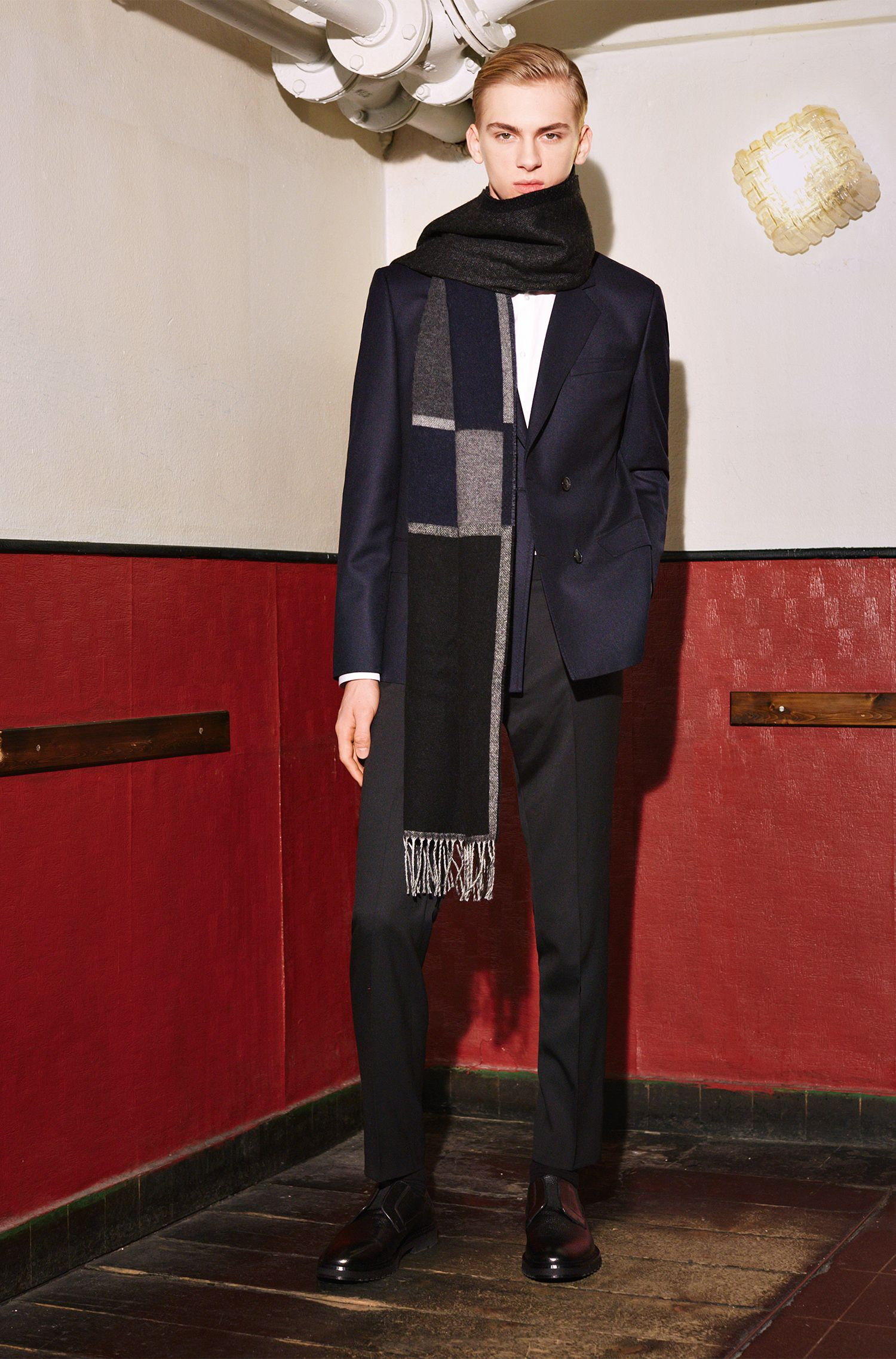 Écharpe à carreaux en laine mélangée, avec de la laine vierge: «Men-Z 455»