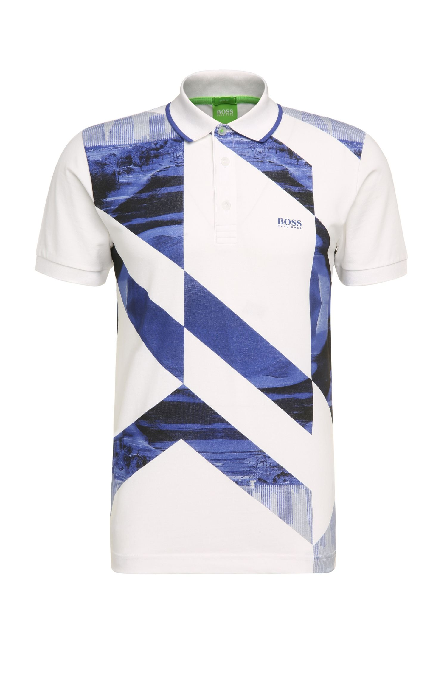 Slim-fit polo shirt in stretch cotton with photo print: 'Paule 3'