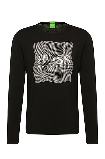 Regular-Fit Longsleeve aus Baumwolle mit Logo-Print: ´Togn 4`, Schwarz