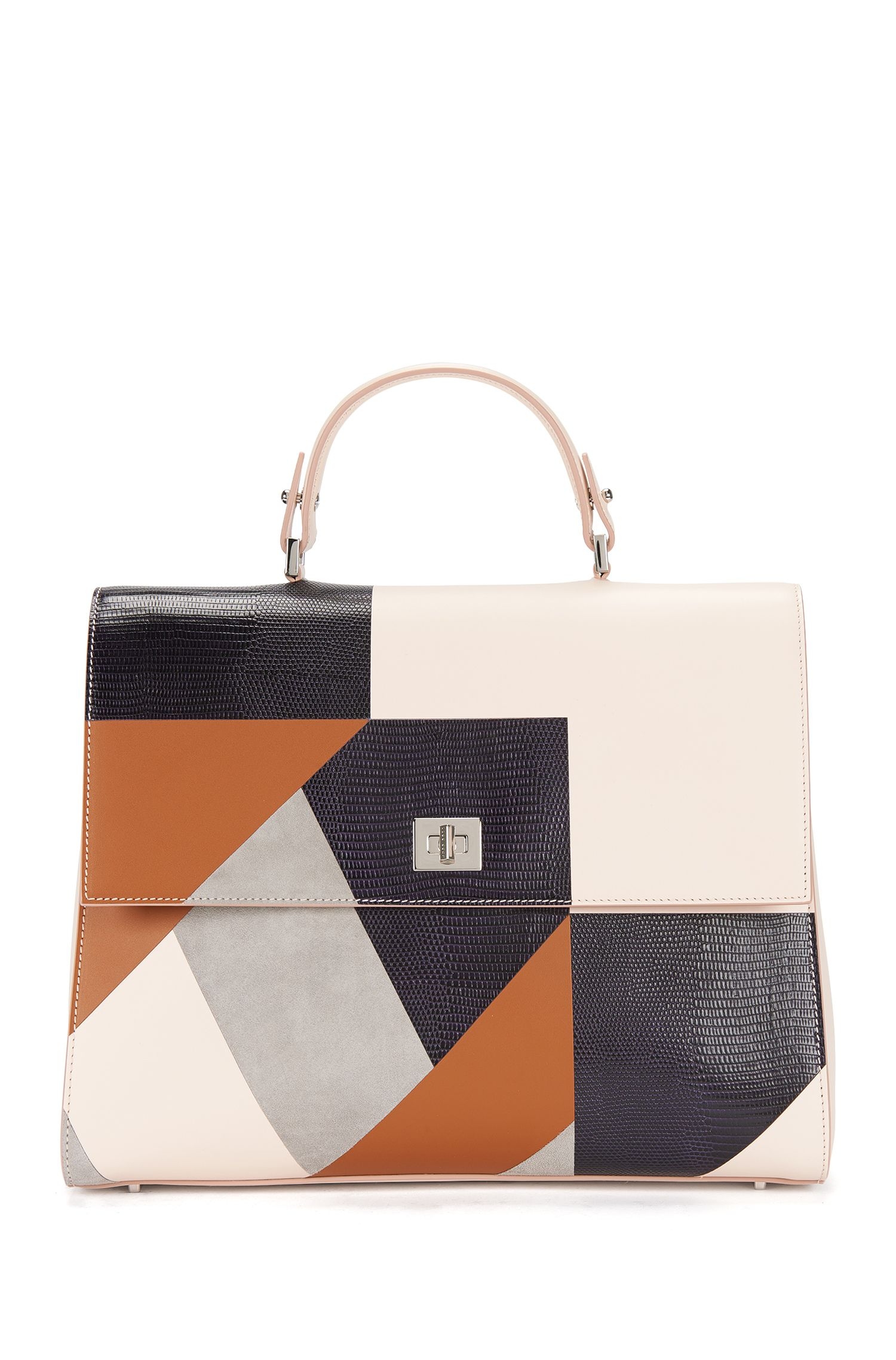 Runway Edition BOSS Bespoke Handtasche aus Leder-Mix in Patchwork-Optik