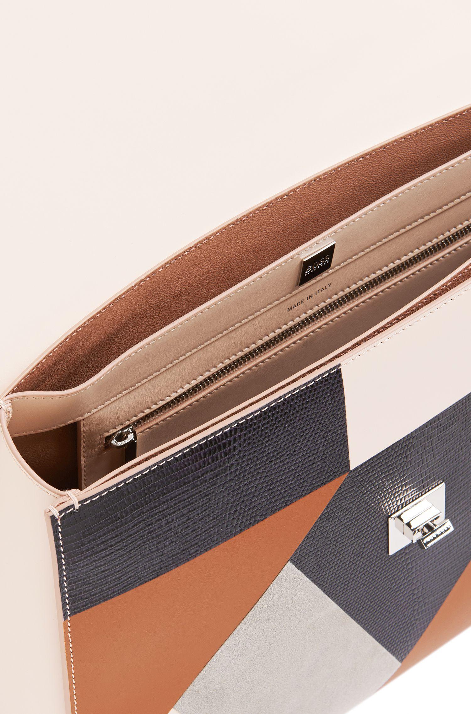 Runway Edition BOSS Bespoke Handtasche aus Leder-Mix in Patchwork-Optik