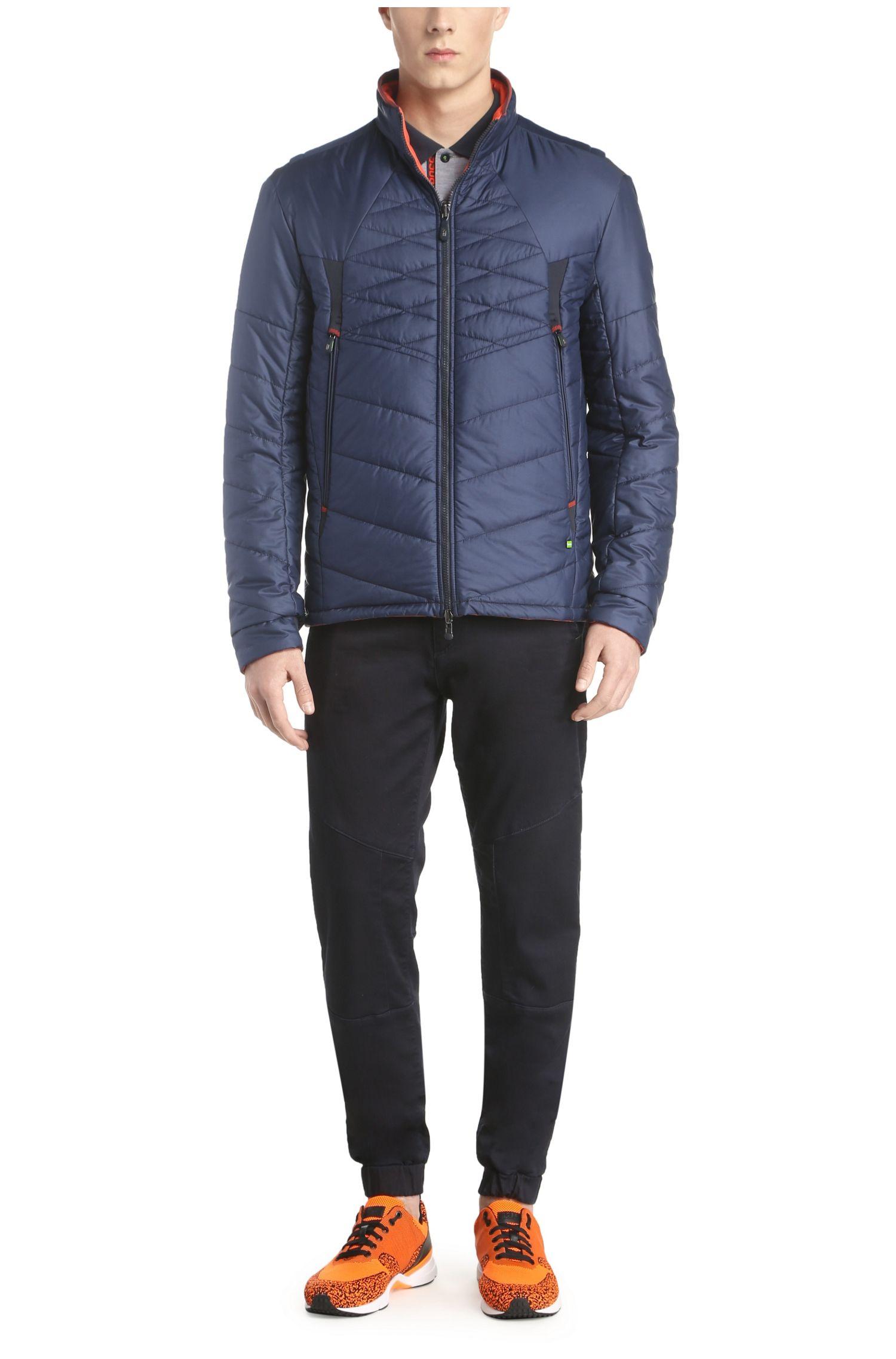 Gewatteerde, tweezijdig te dragen jas van een gladde materiaalmix: 'Jakobo'