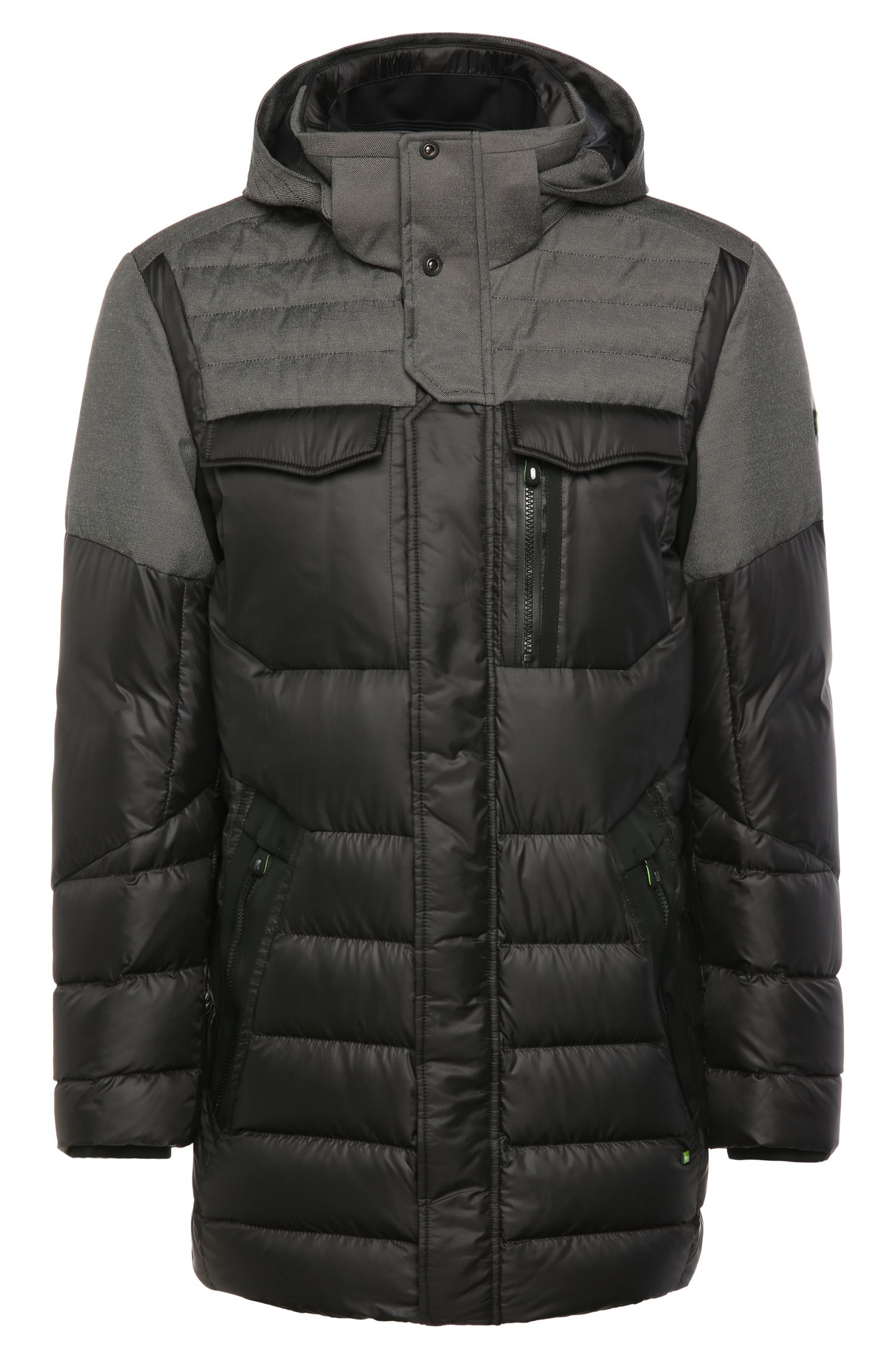 2-tone quilted parka with down and feather padding: 'Jego'