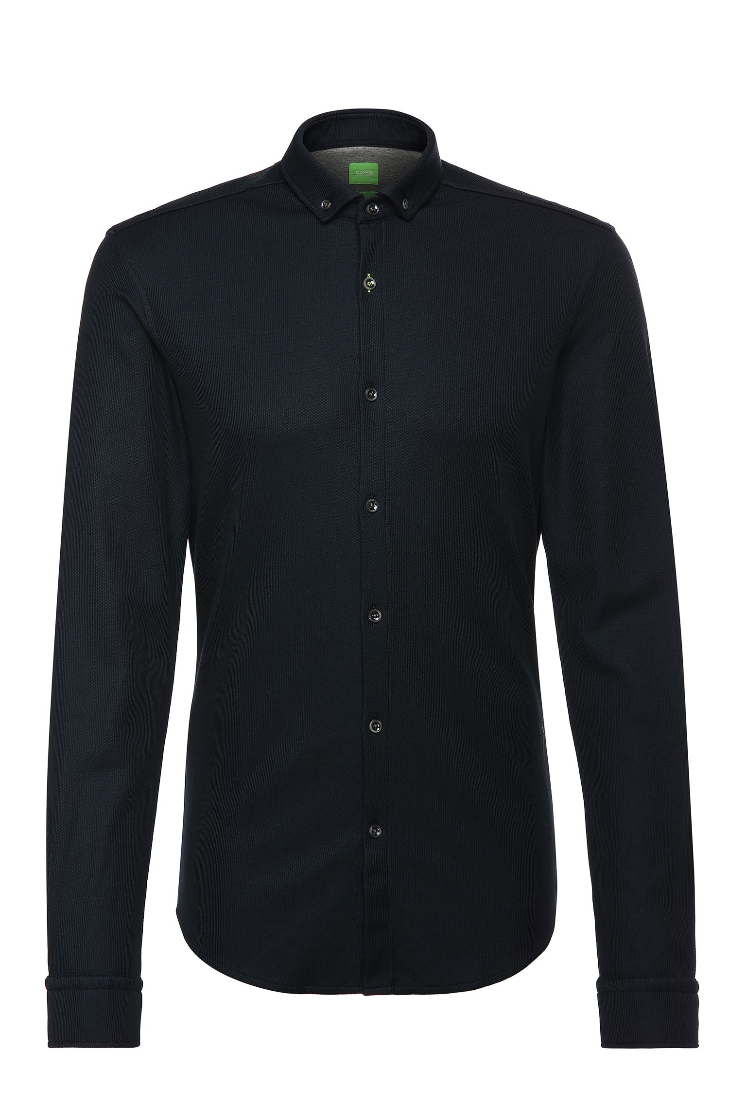 Slim-fit shirt in textured cotton blend: 'Borallo'