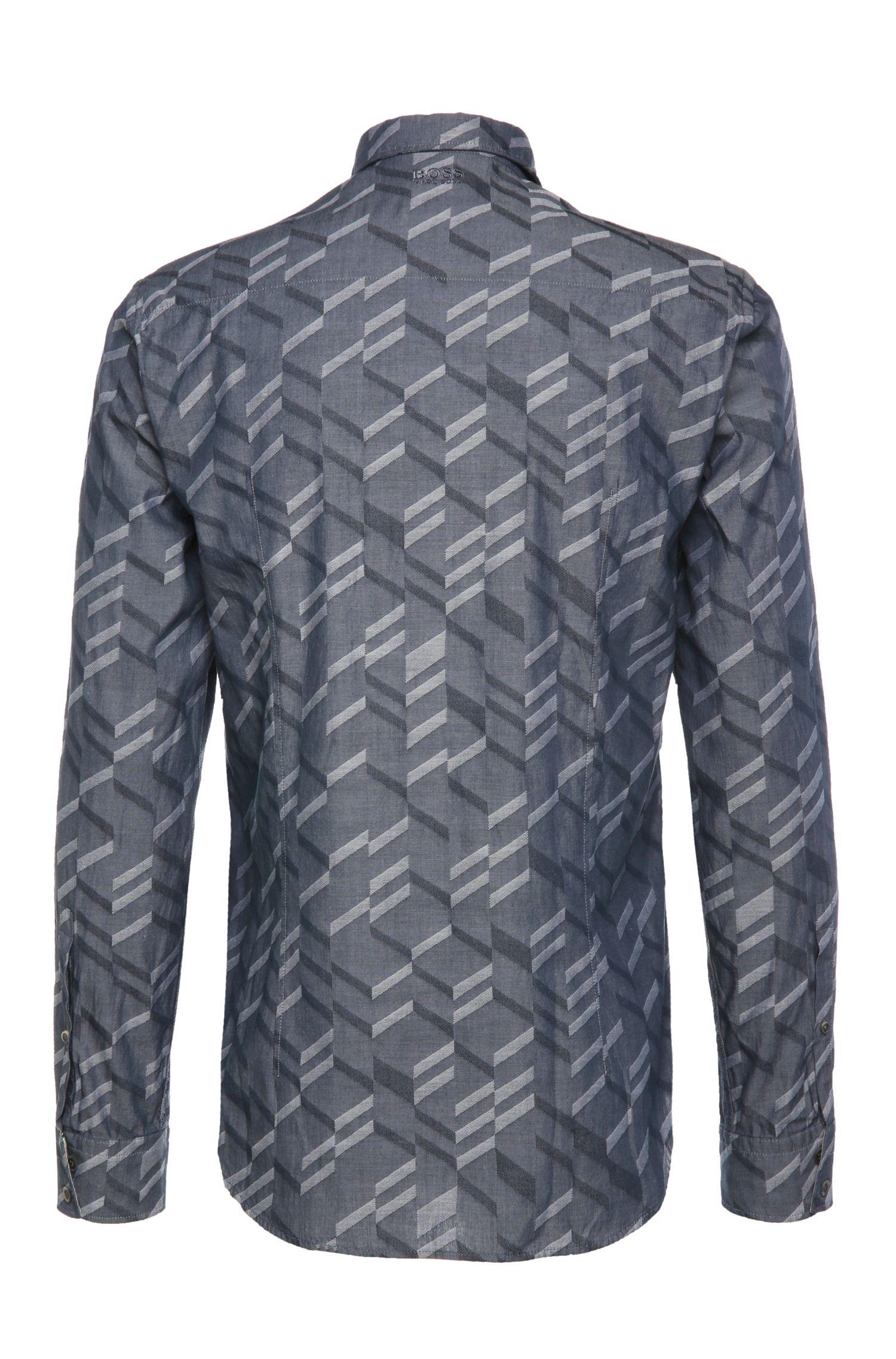 Slim-fit overhemd van katoen met dessin: 'Bambra'