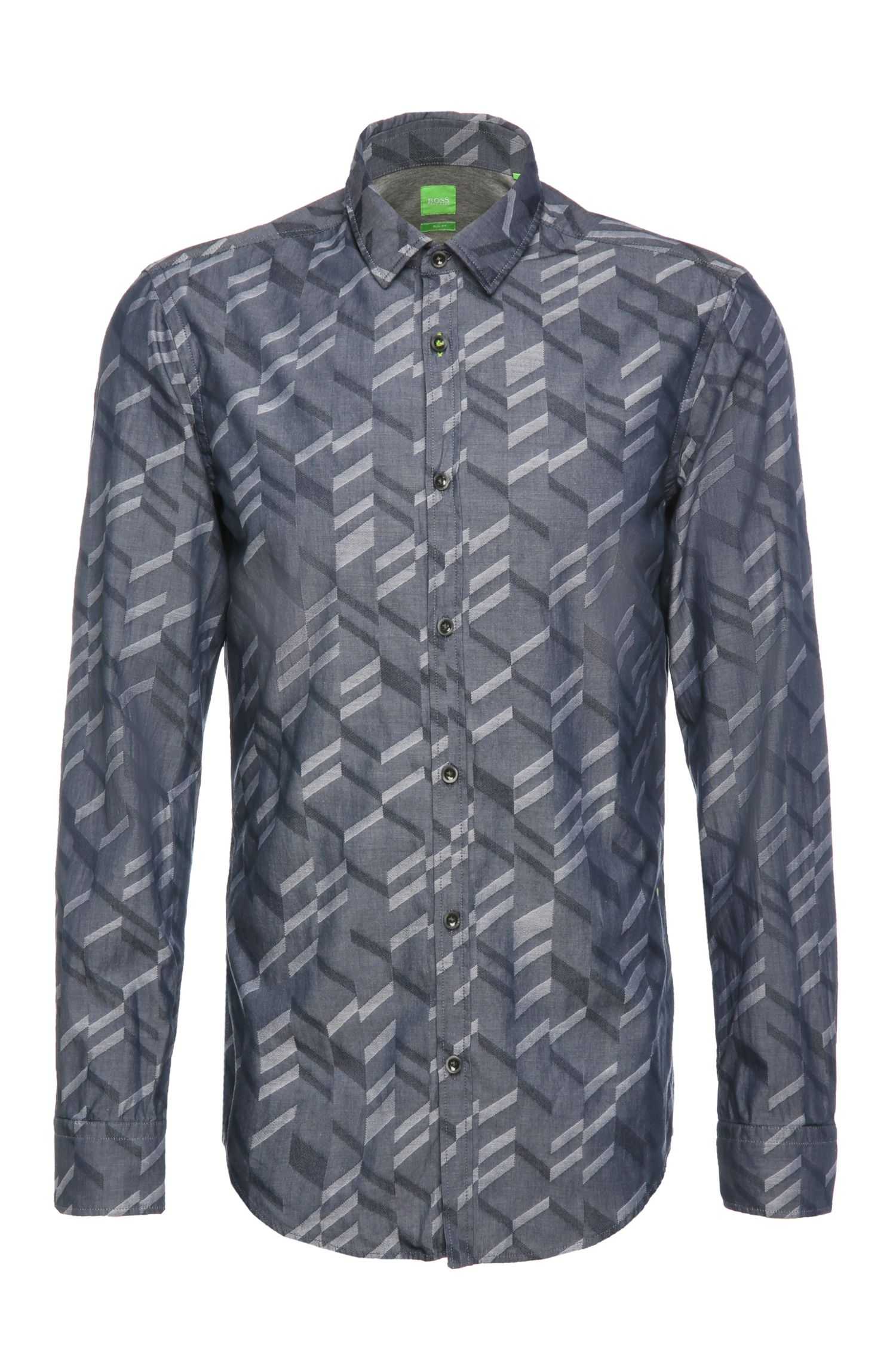 Patterned slim-fit cotton shirt: 'Bambra'