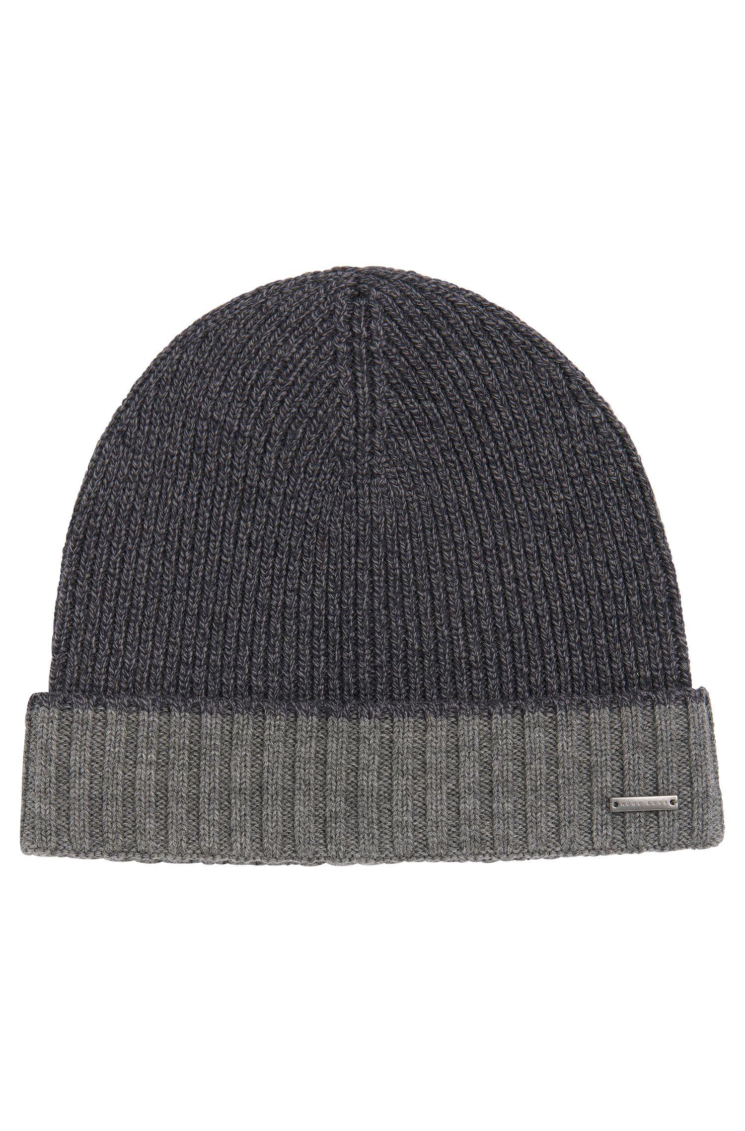 Bonnet en laine vierge à revers de couleur contrastante: «Frisk»