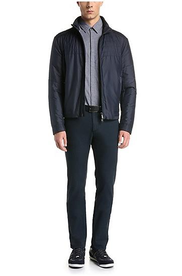 Slim-Fit Hemd aus strukturierter Baumwolle: ´Bemma`, Dunkelblau