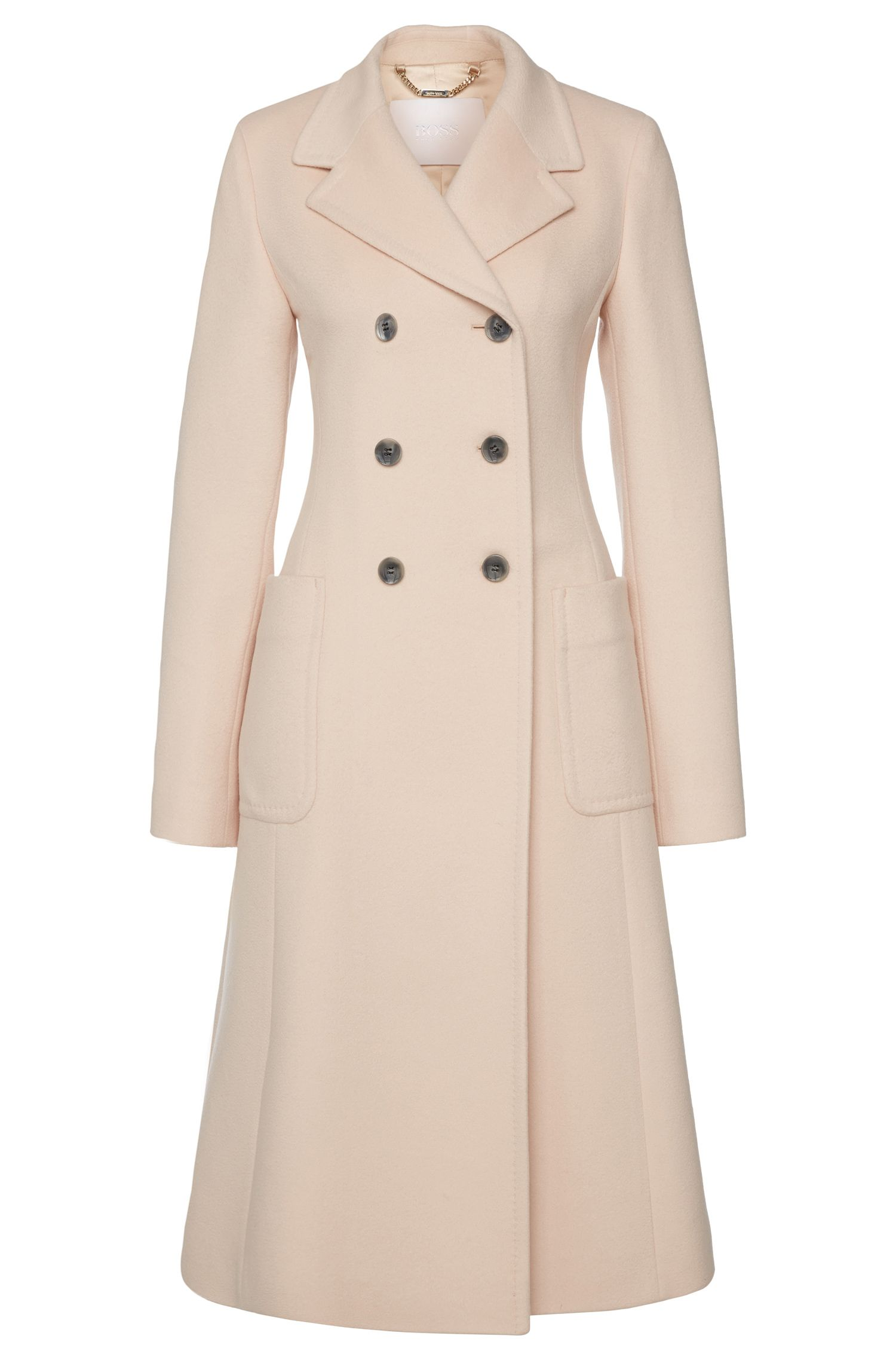 Coat in pure new wool with a double-breasted button placket: 'Cairon'