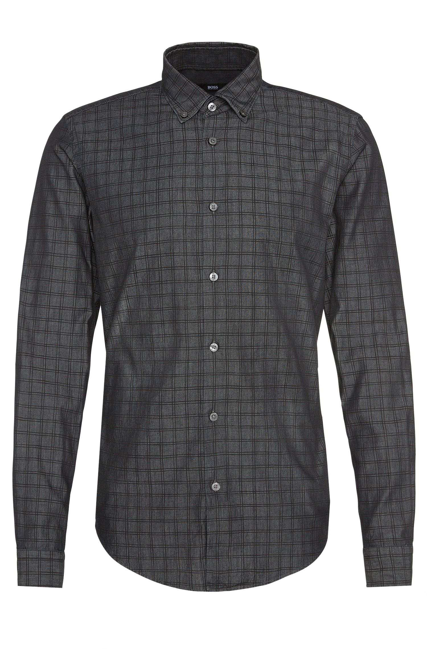 Gemustertes Slim-Fit-Hemd aus Baumwolle: 'Rod_34F'