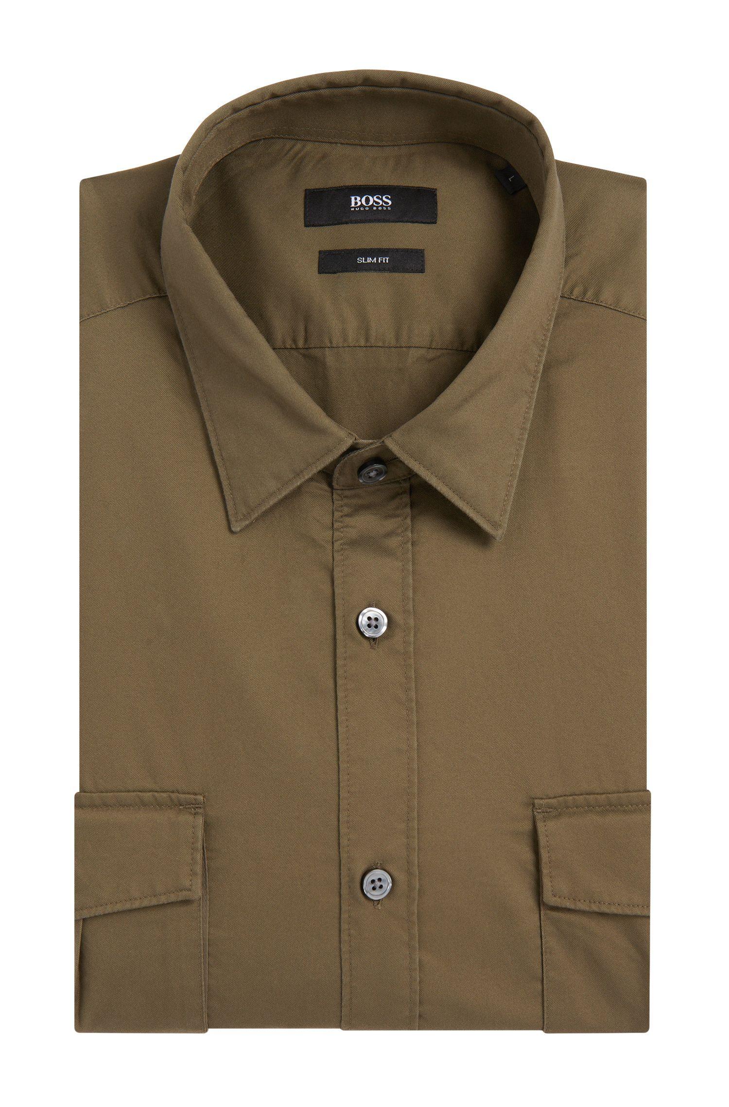 Slim-fit overhemd van katoen met opgezette borstzakken: 'Ramsey_35'
