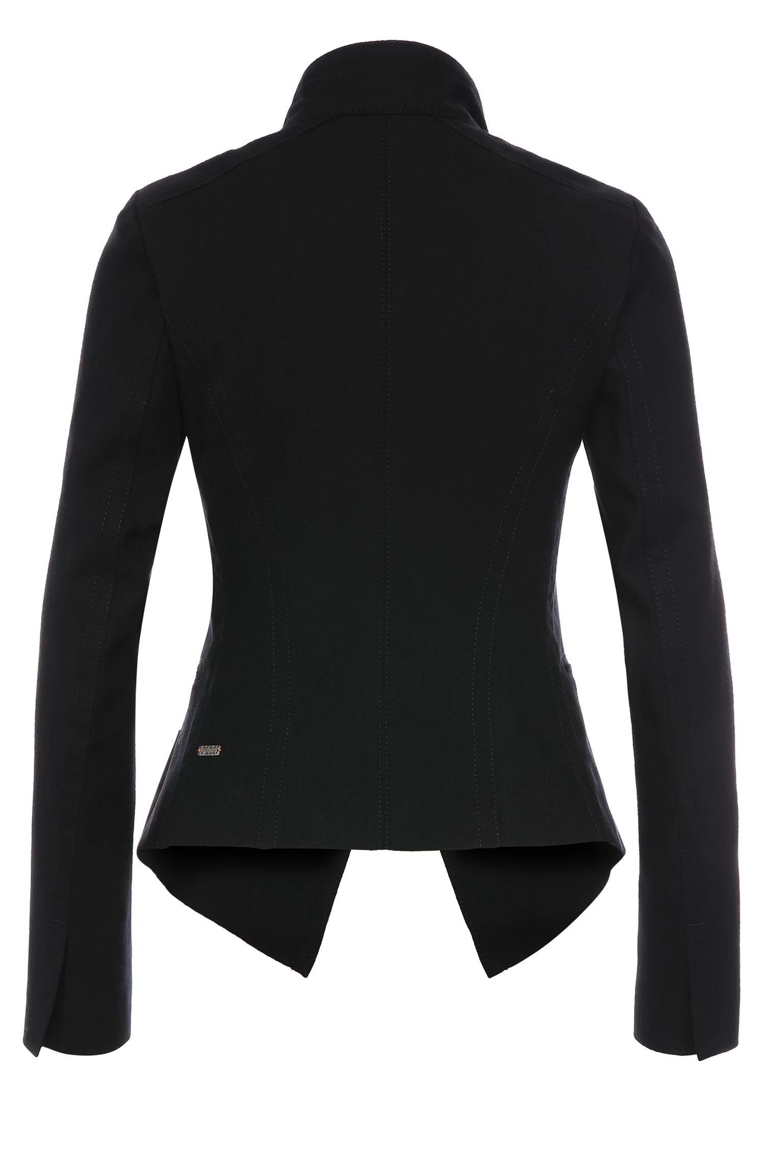 Kurze Jacke aus Baumwoll-Mix mit Schurwolle in Jeans-Optik: ´Owoolia`