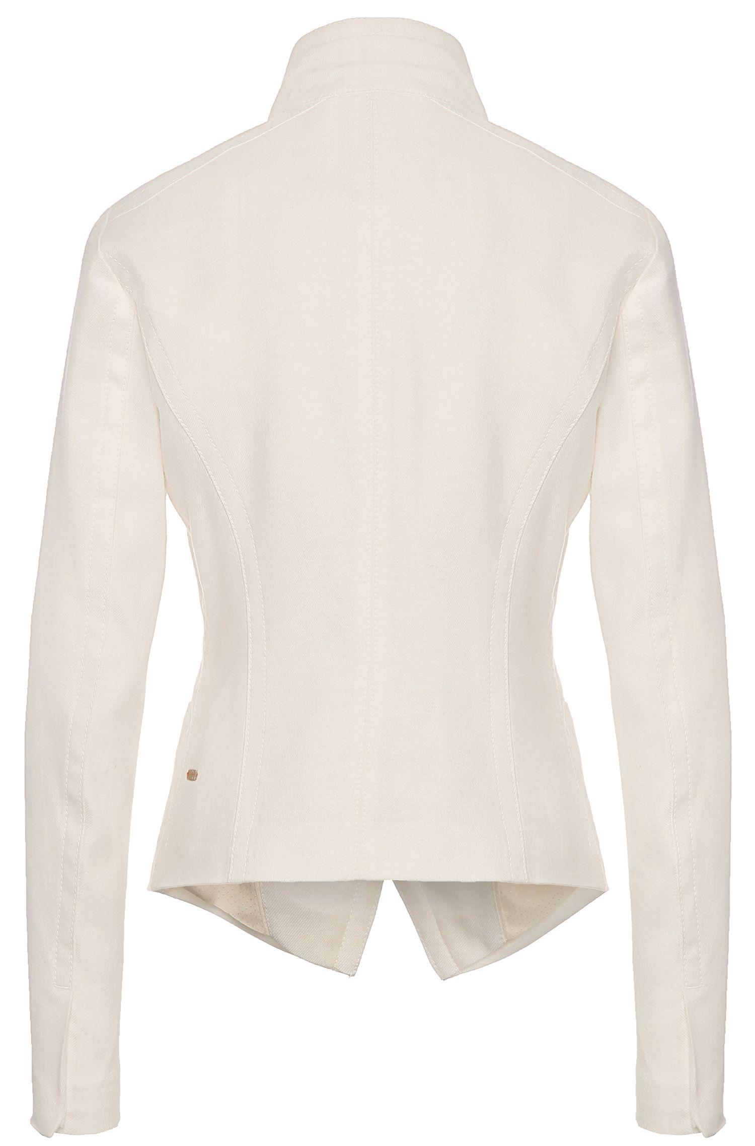 Veste courte en coton mélangé à de la laine vierge, finition denim: «Owoolia»