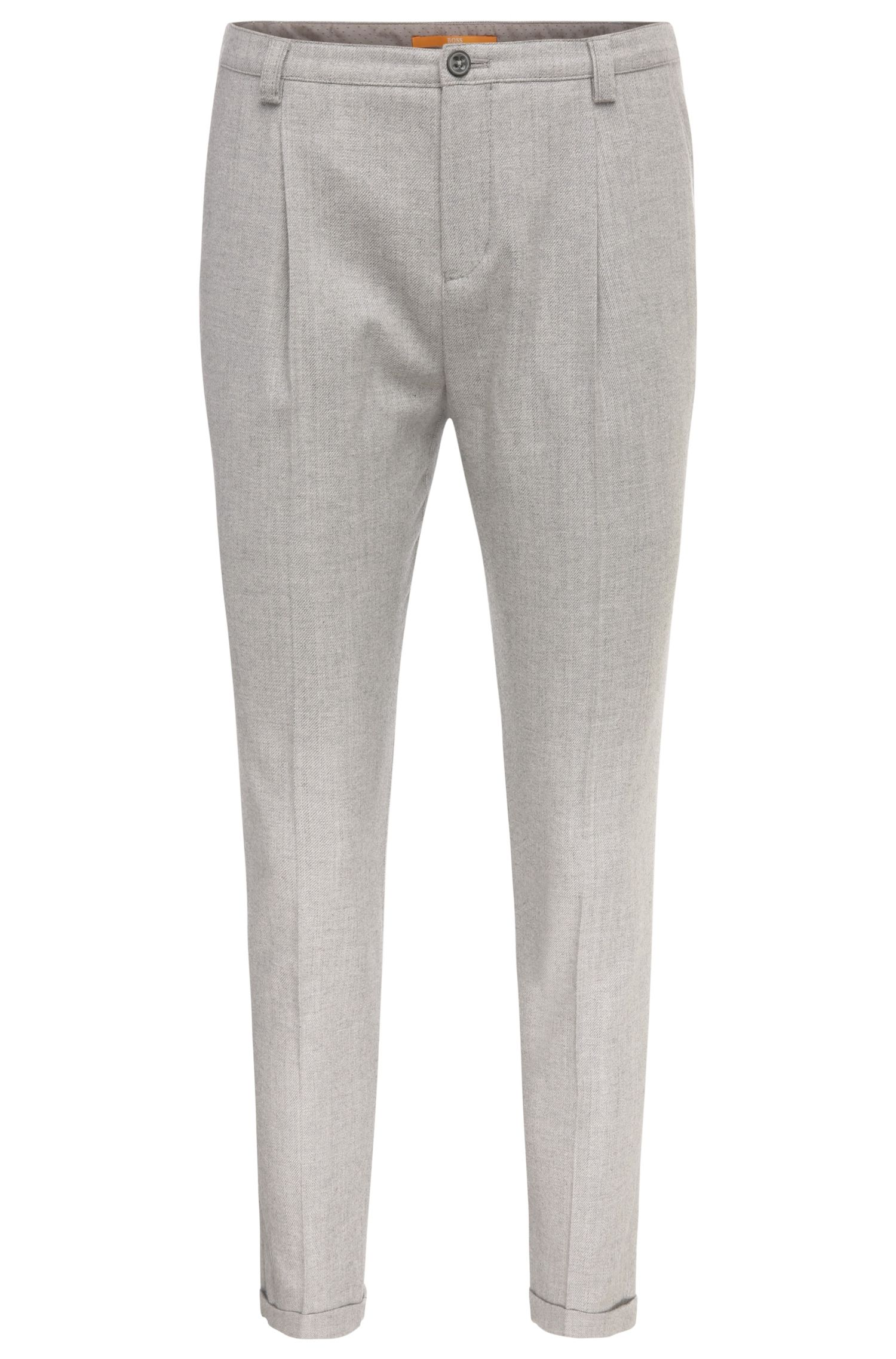 Comfort-fit trousers in cotton blend with new wool: 'Sacupra'