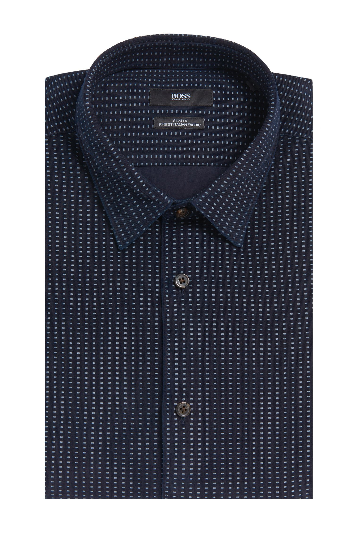 Slim-fit overhemd van katoen met dessin: 'Reid_F'
