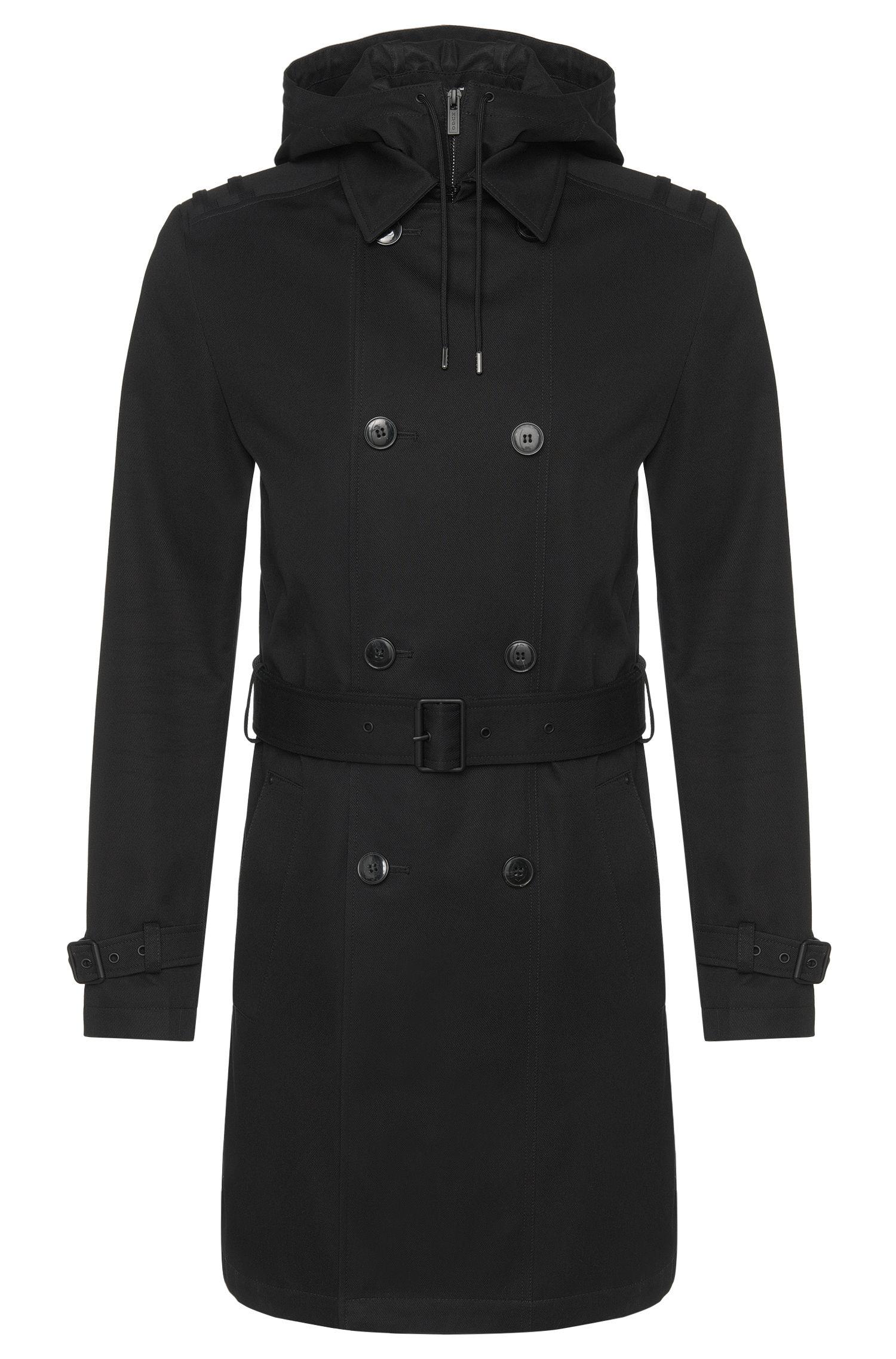 Mantel aus Baumwolle im Trenchcoat-Stil mit heraustrennbarer Kapuze: 'Mentox1'