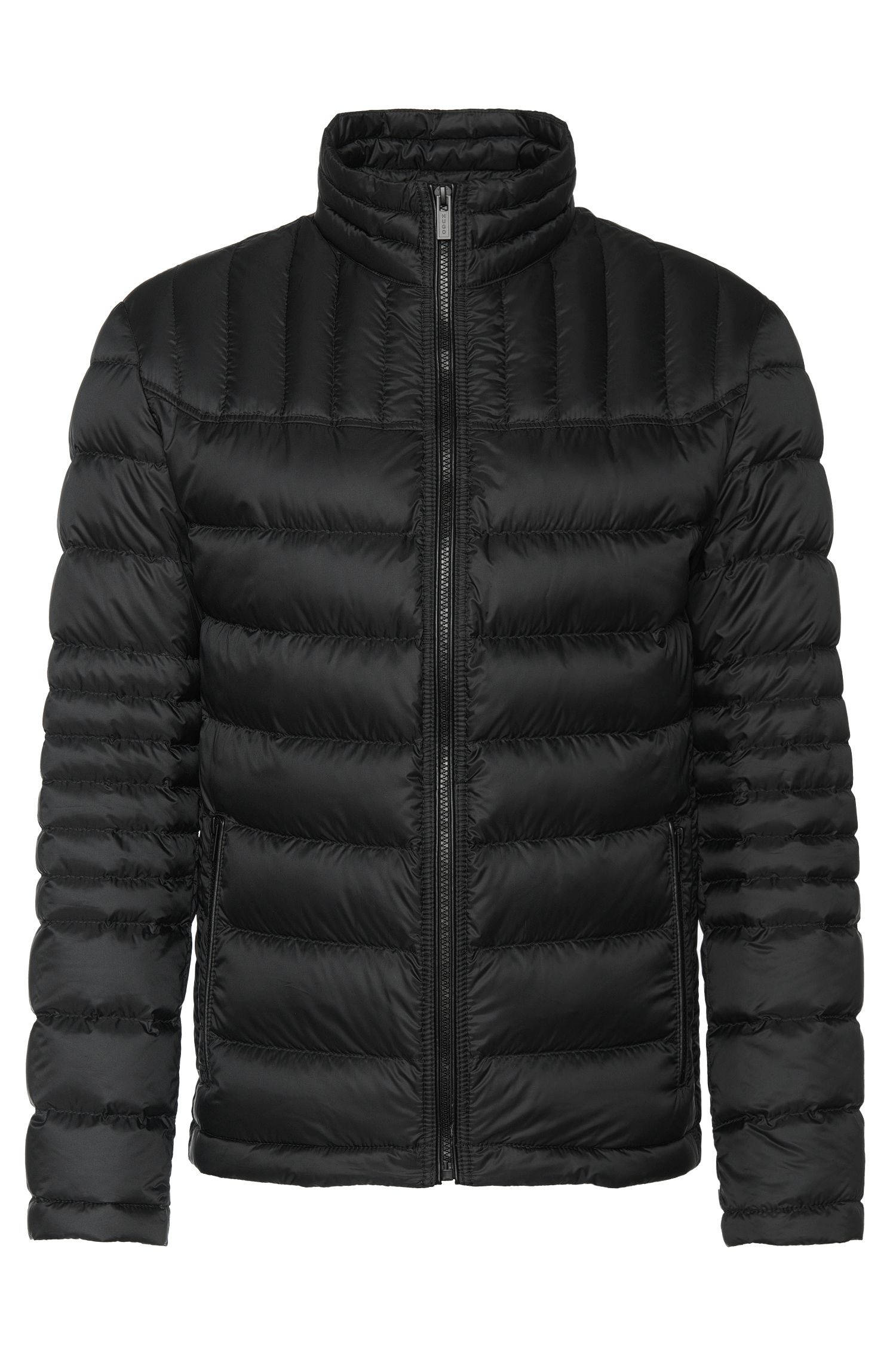 Water-repellent down jacket with leather-effect piping: 'Barel1'