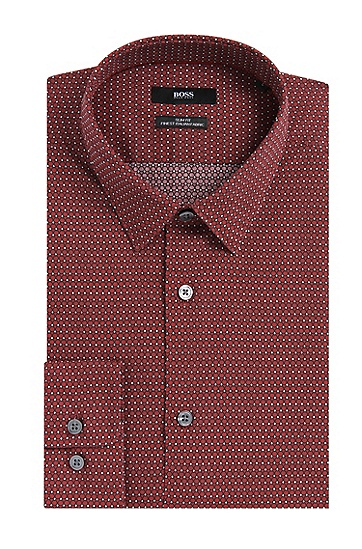 Allover gemustertes Slim-Fit Hemd aus Baumwolle: 'Reid_F', Rot