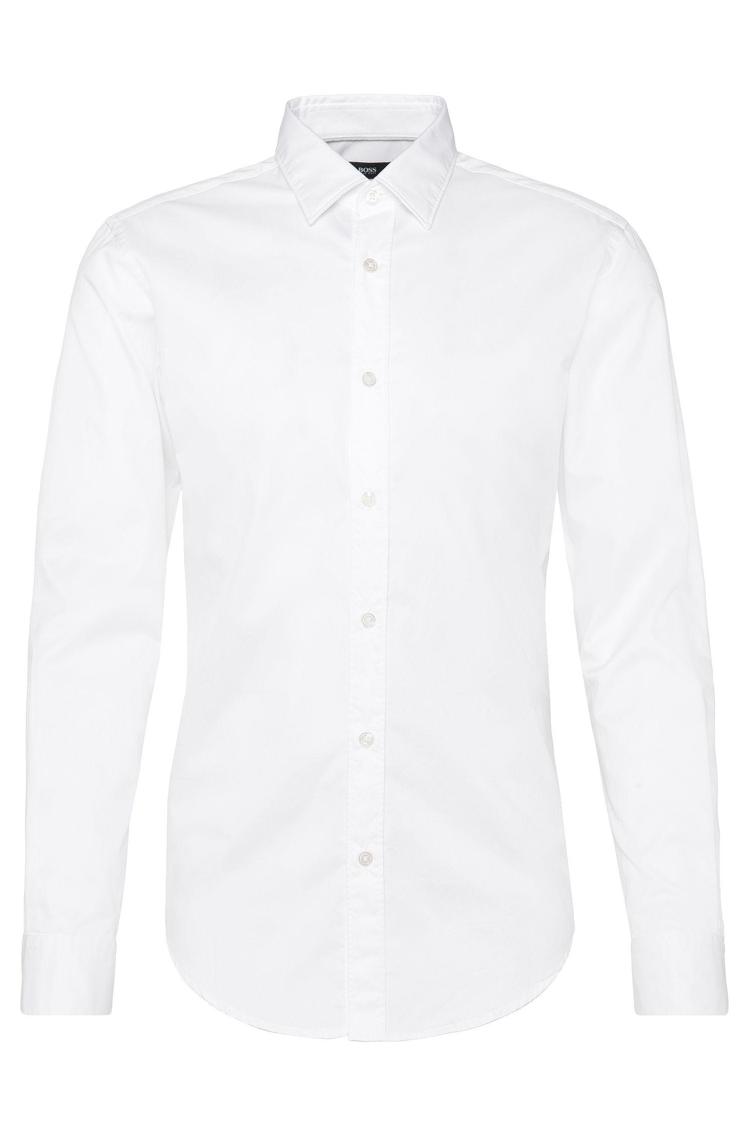 Effen slim-fit overhemd van katoen: 'Ronni'