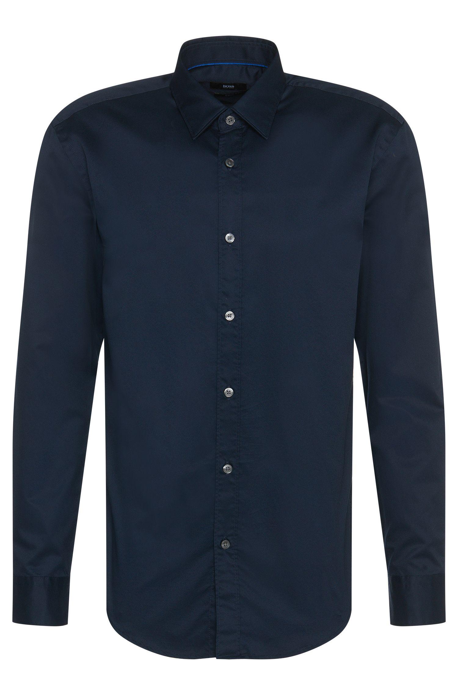 Unifarbenes Slim-Fit Hemd aus Baumwolle: 'Ronni'