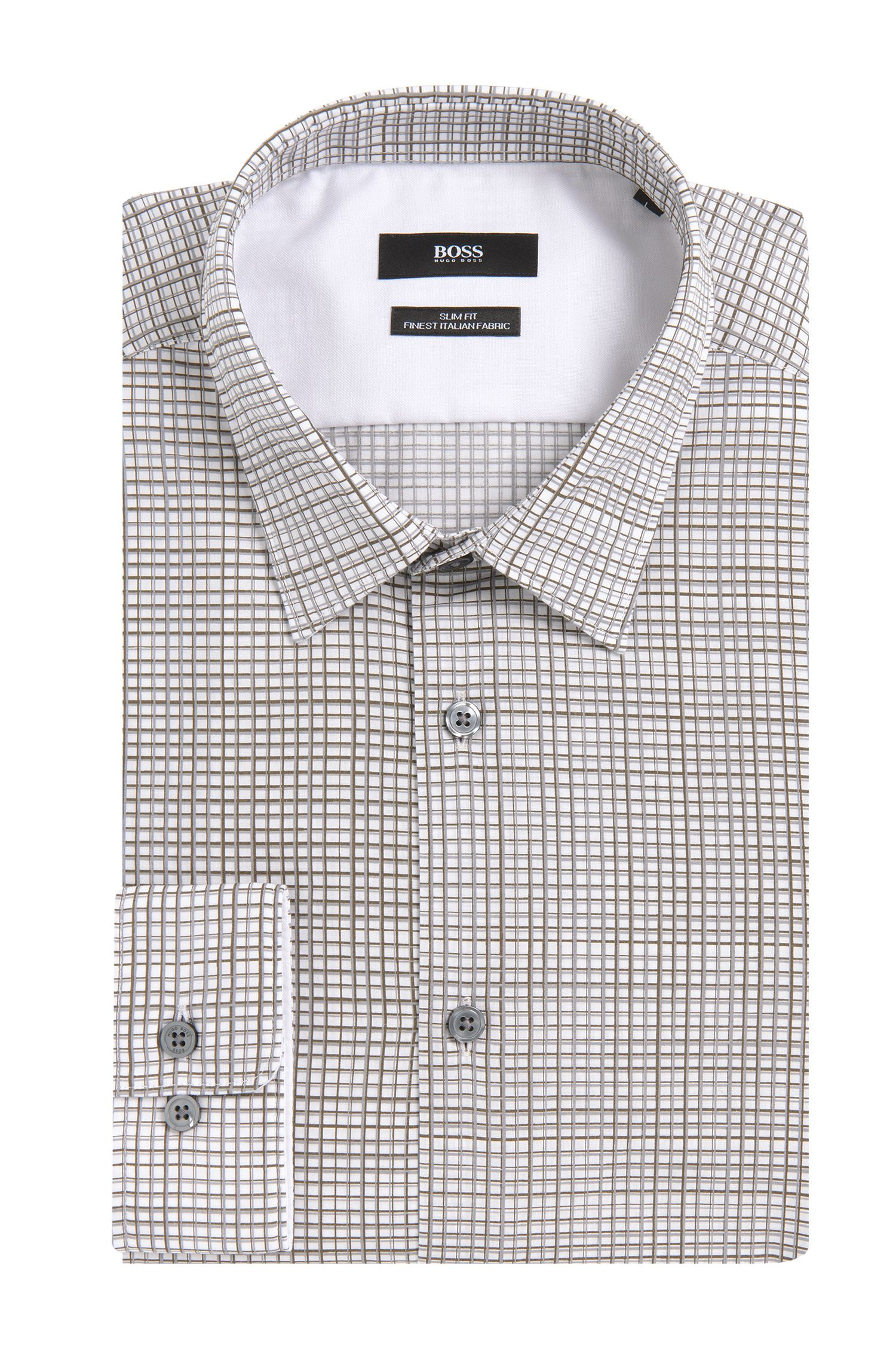 Chemise Slim Fit à motif en coton: «Ronni_34F»