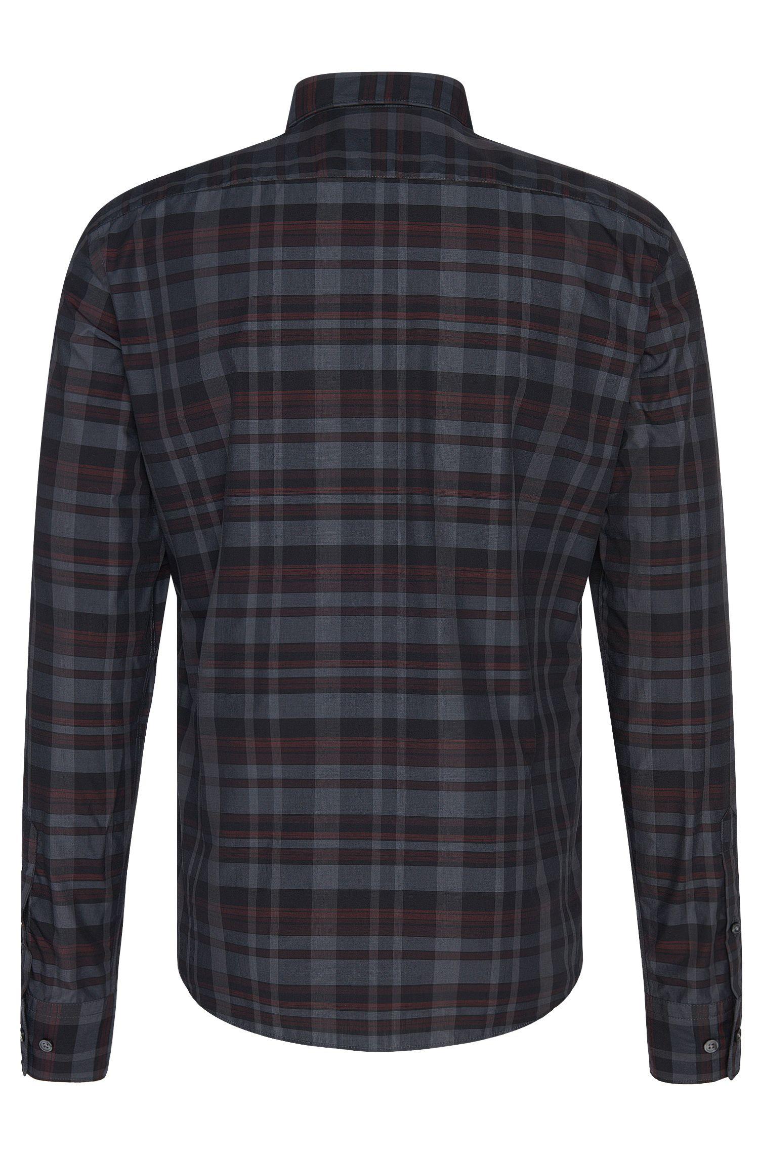 Slim-Fit-Hemd aus reiner Baumwolle mit Karo-Muster: 'Reif_F'