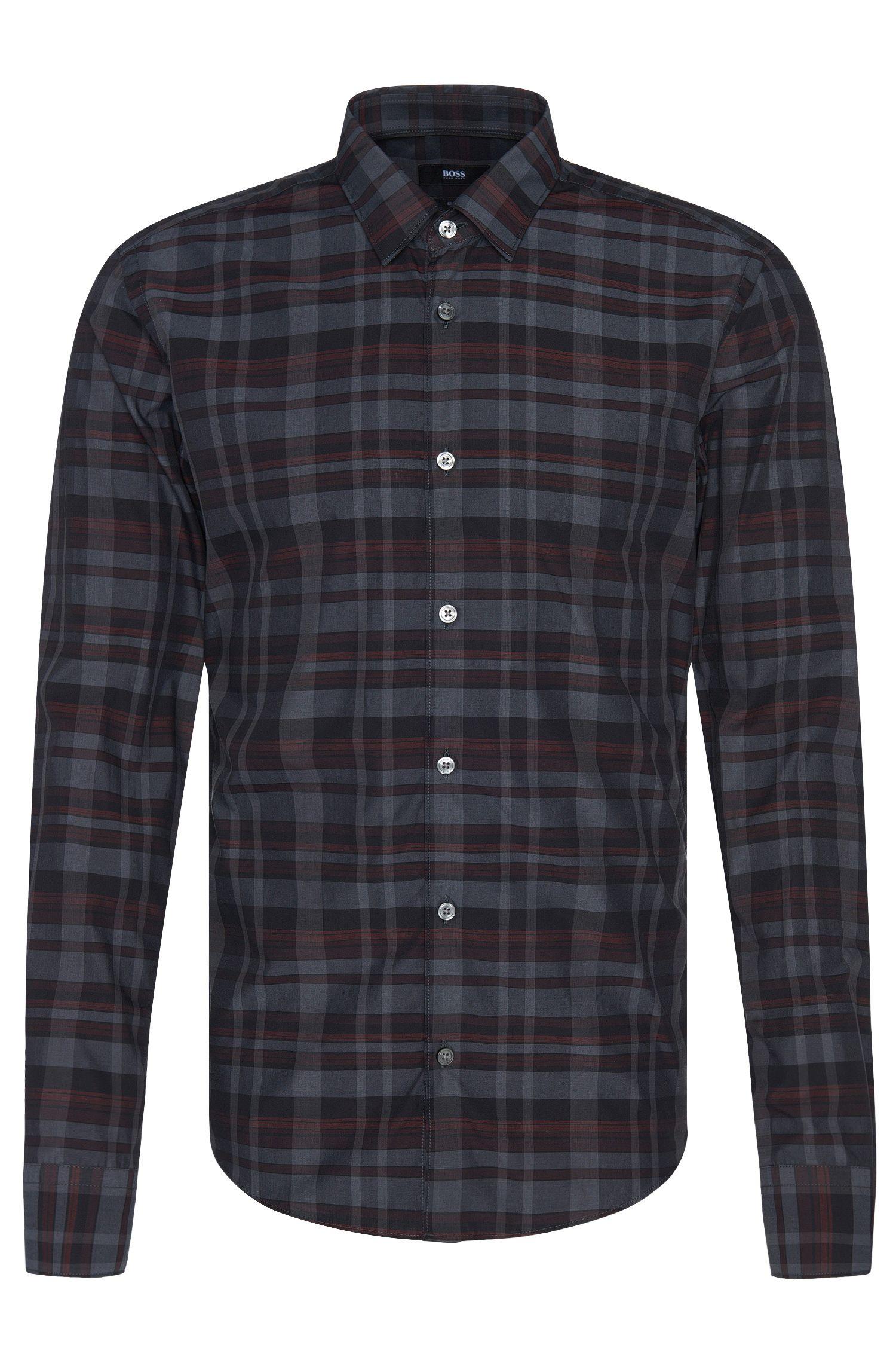 Chemise Slim Fit en pur coton à motif à carreaux: «Reif_F»