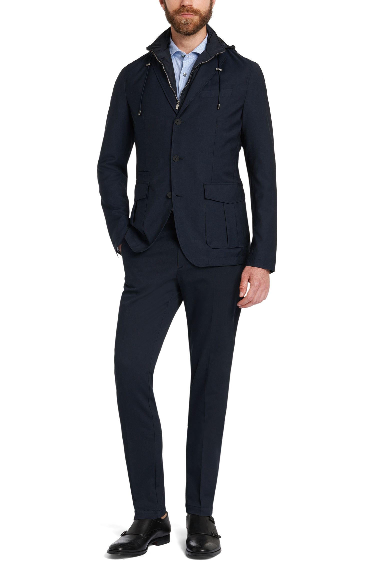 Gestreiftes Slim-Fit Tailored Hemd aus Baumwolle: 'T-Randolph_37F'
