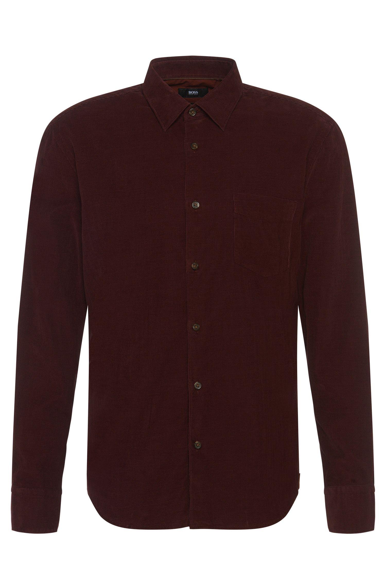 Slim-fit cotton shirt in fine corduroy: 'Reid_32FP'