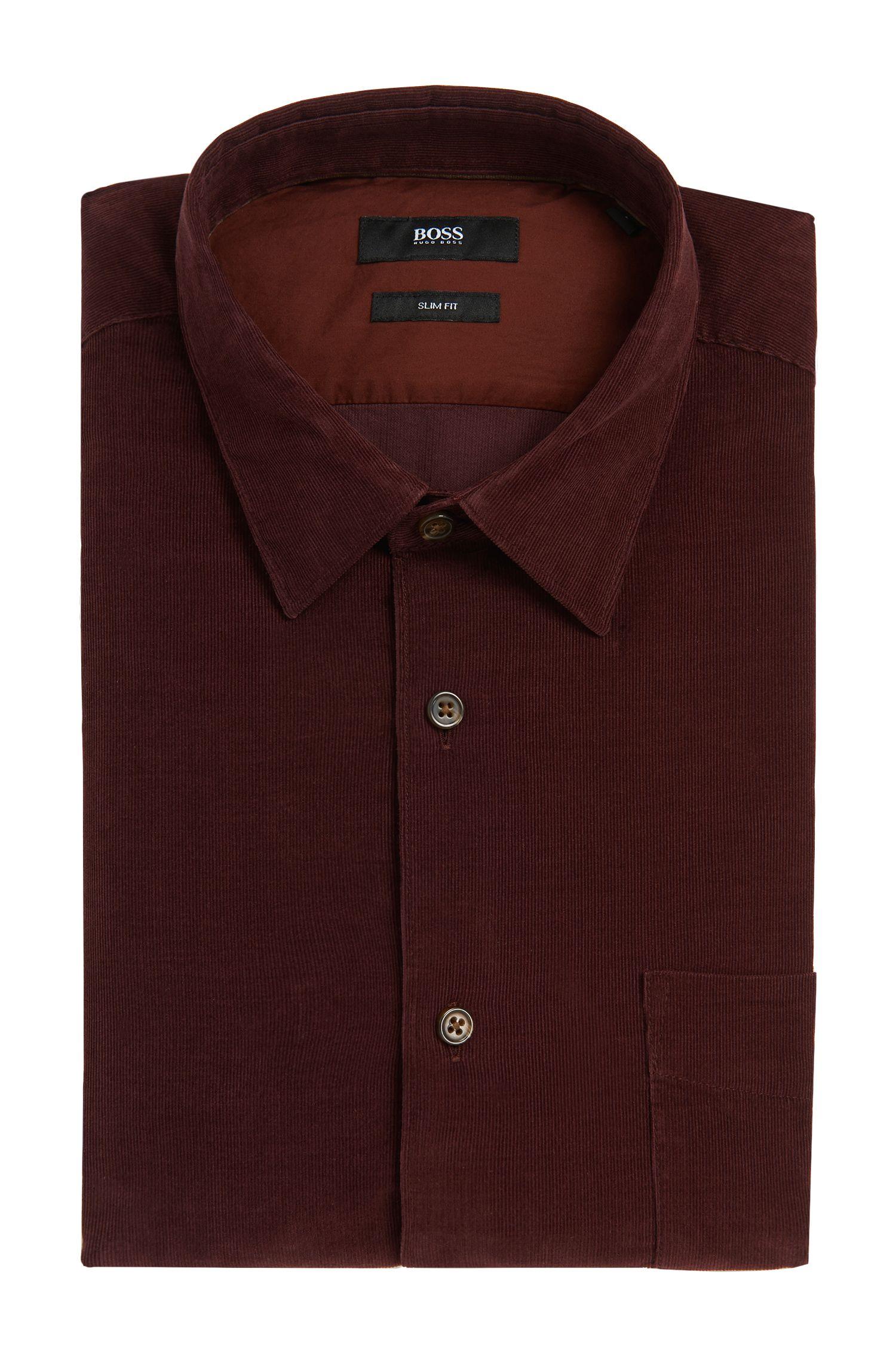 Slim-fit overhemd van katoen in fijne corduitvoering: 'Reid_32FP'