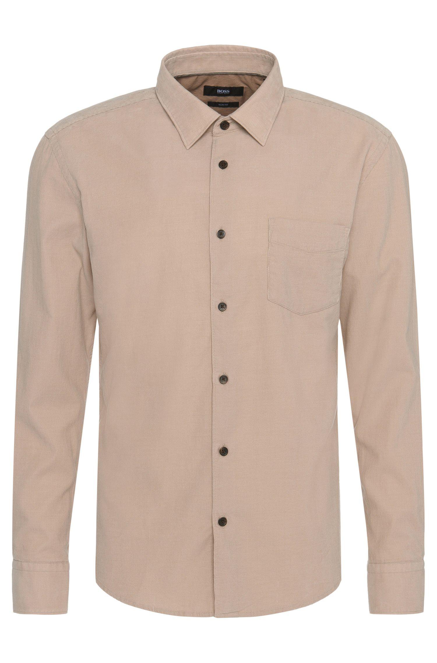 Camicia in cotone slim fit in fine velluto a coste: 'Reid_32FP'