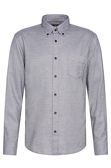 Meliertes Slim-Fit Hemd aus Baumwoll-Mix: 'Rubens_31P', Grau