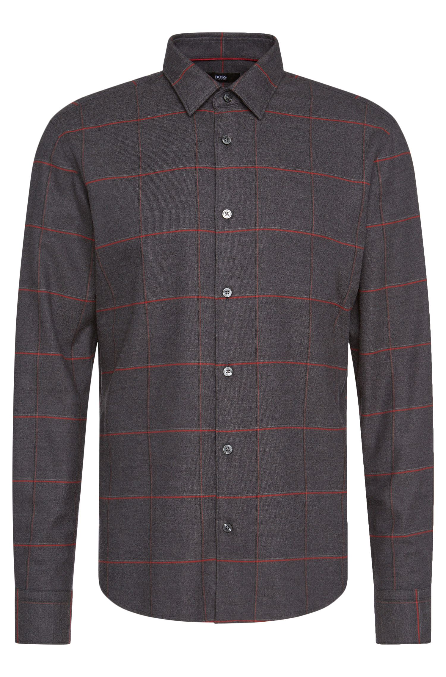 Slim-fit shirt in a cotton blend with linear pattern: 'Reid_F'