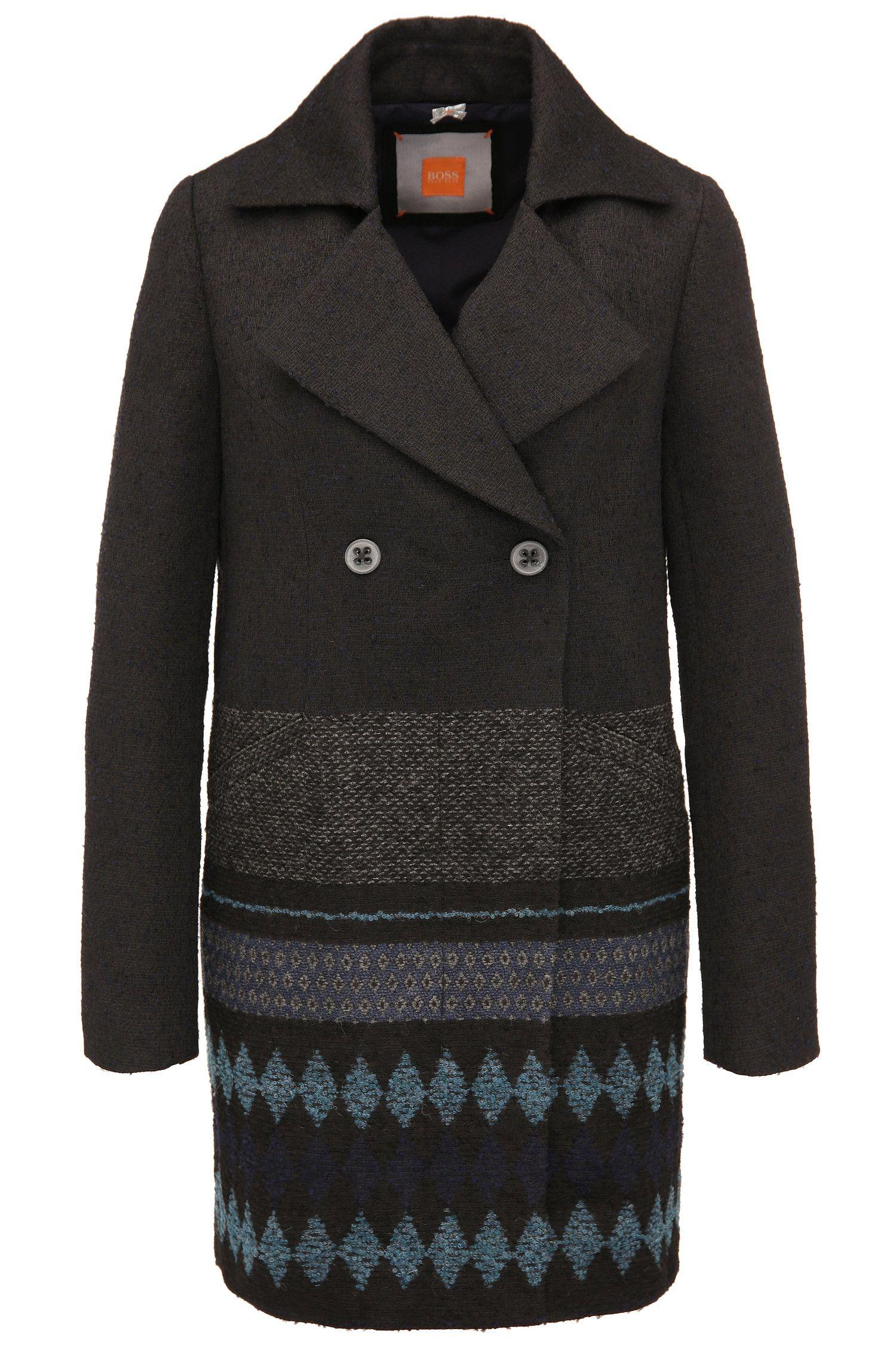 Abrigo en mezcla de materiales con aspecto de tweed y tejido: 'Ofrieda2'