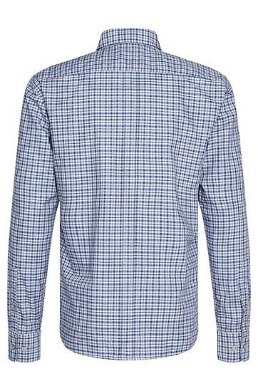 Kariertes Slim-Fit-Hemd aus reiner Baumwolle: 'Rubens_34', Blau