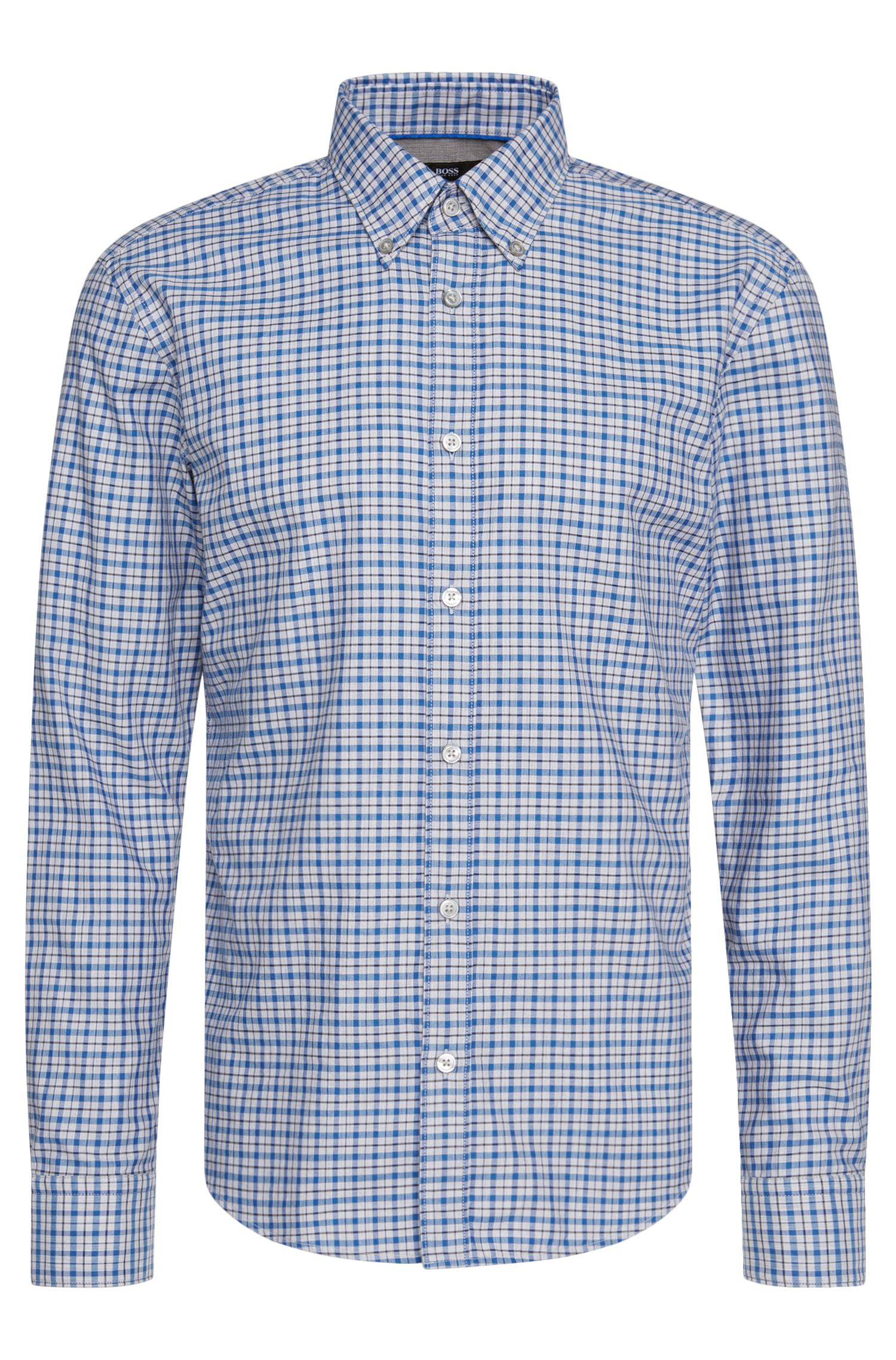 Checked slim-fit shirt in pure cotton: 'Rubens_34'