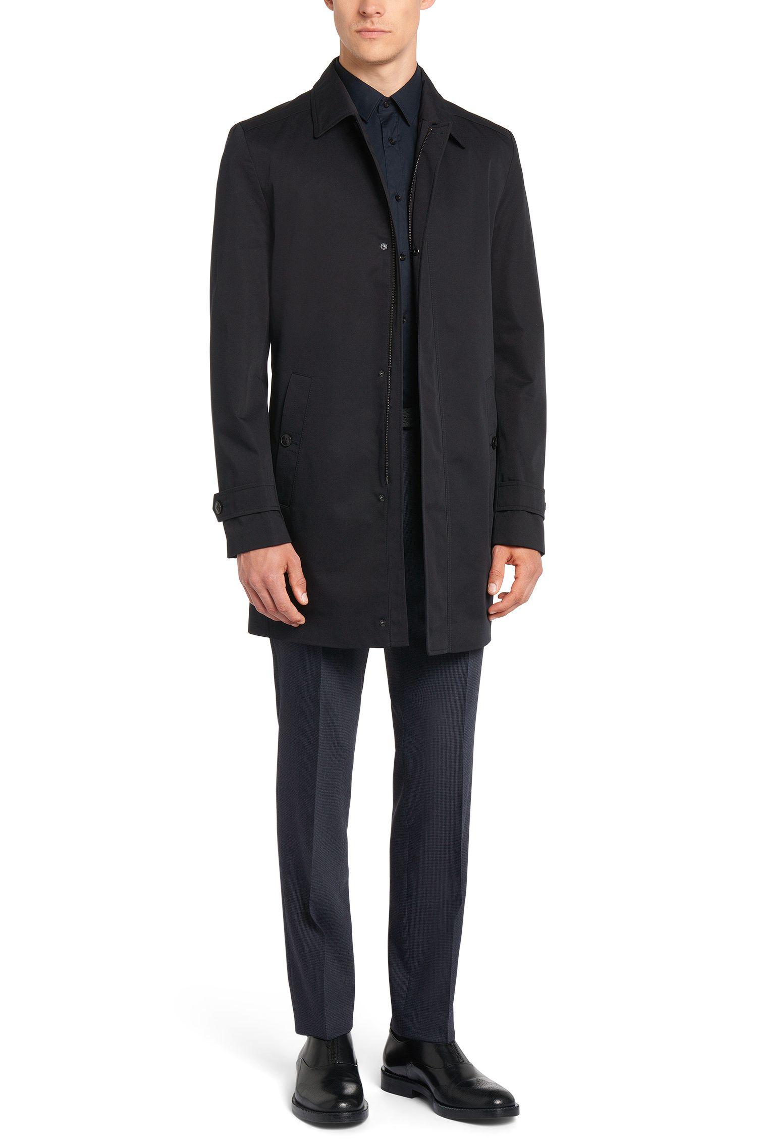 Regular-Fit Mantel aus wasserabweisendem Gewebe: 'Motoz1'