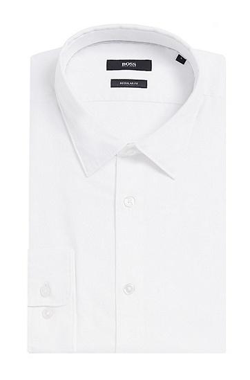 Fein gemustertes Regular-Fit Hemd aus Baumwolle: 'Lukas_39F', Weiß